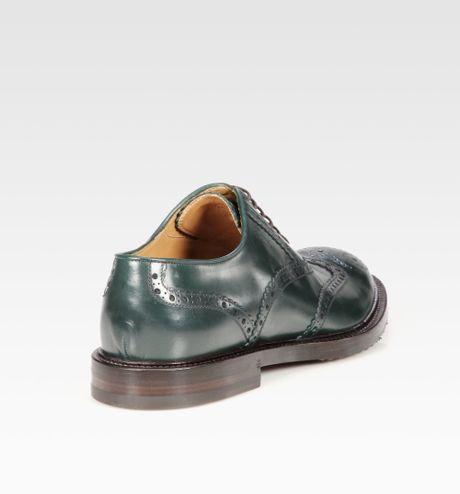 Gucci Wingtip Dress Shoe in Green for Men   Lyst