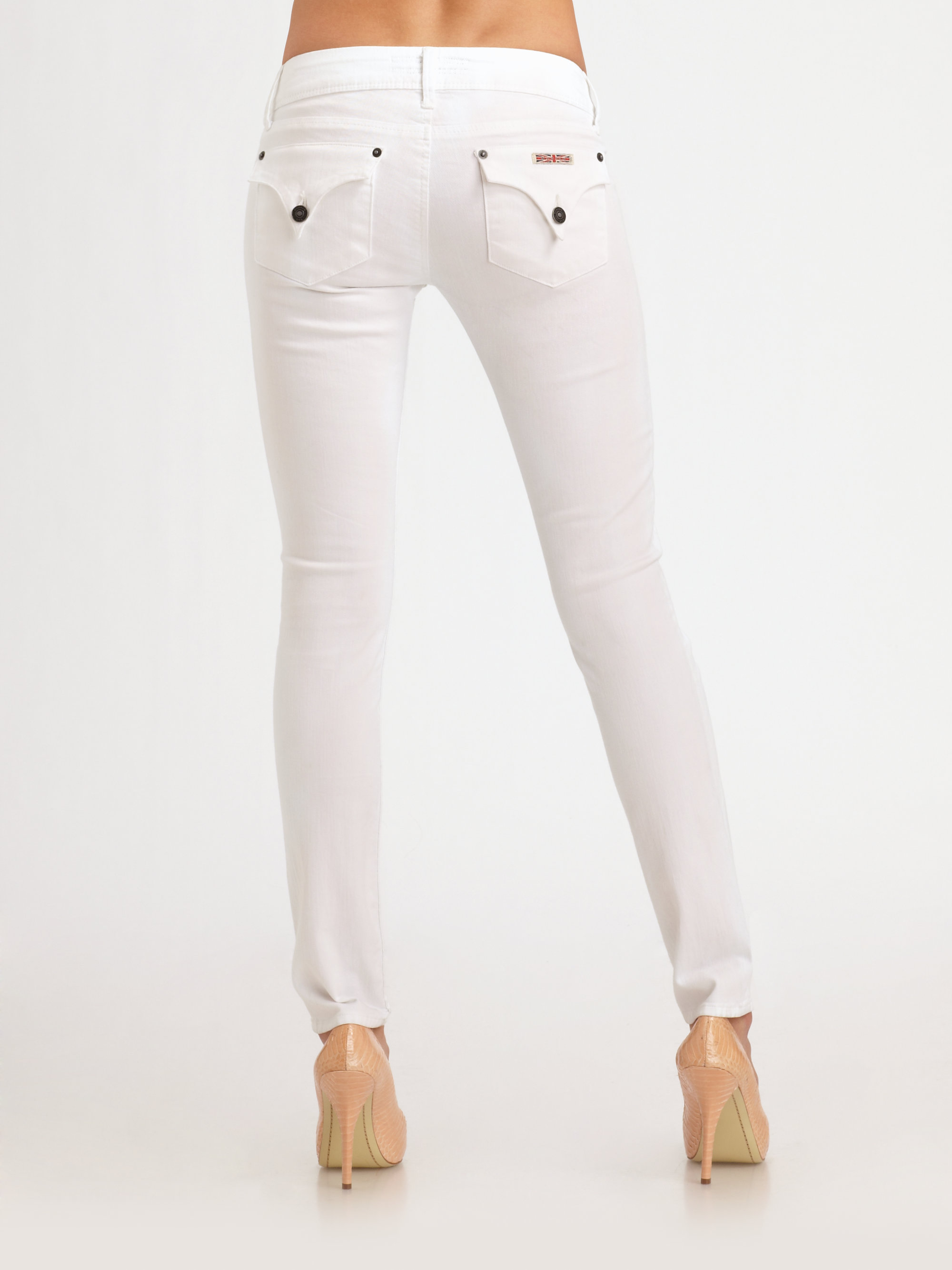 Hudson jeans Skinny Jeans in White | Lyst