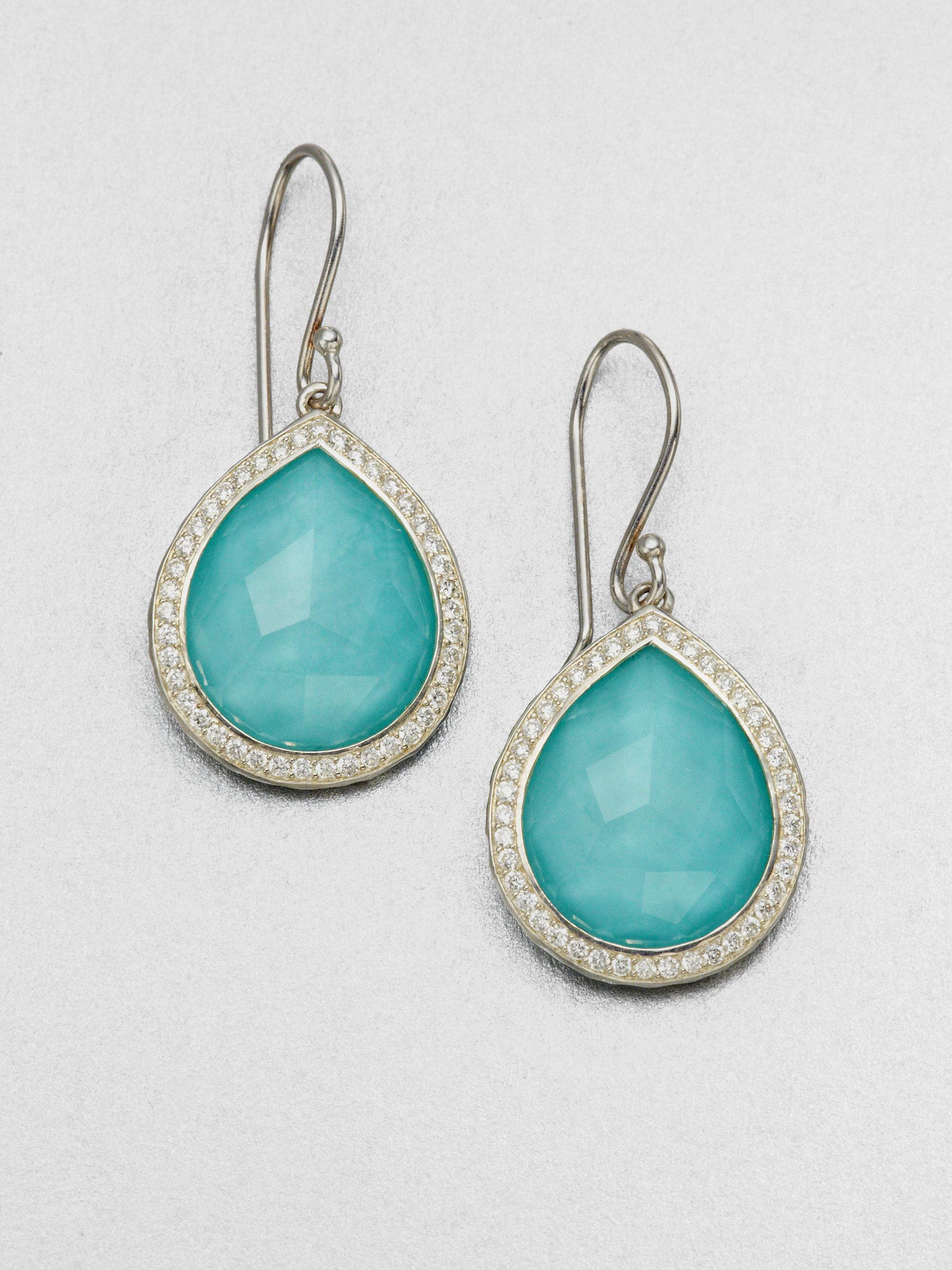 Ippolita Turquoise Doublet Amp Diamond Drop Earrings In Blue