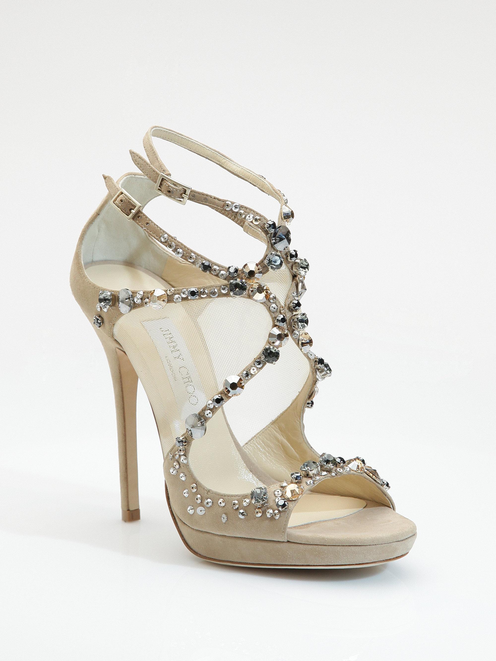 098e92bb7638 Lyst - Jimmy Choo Viola 125 Crystal Suede Sandals in Black
