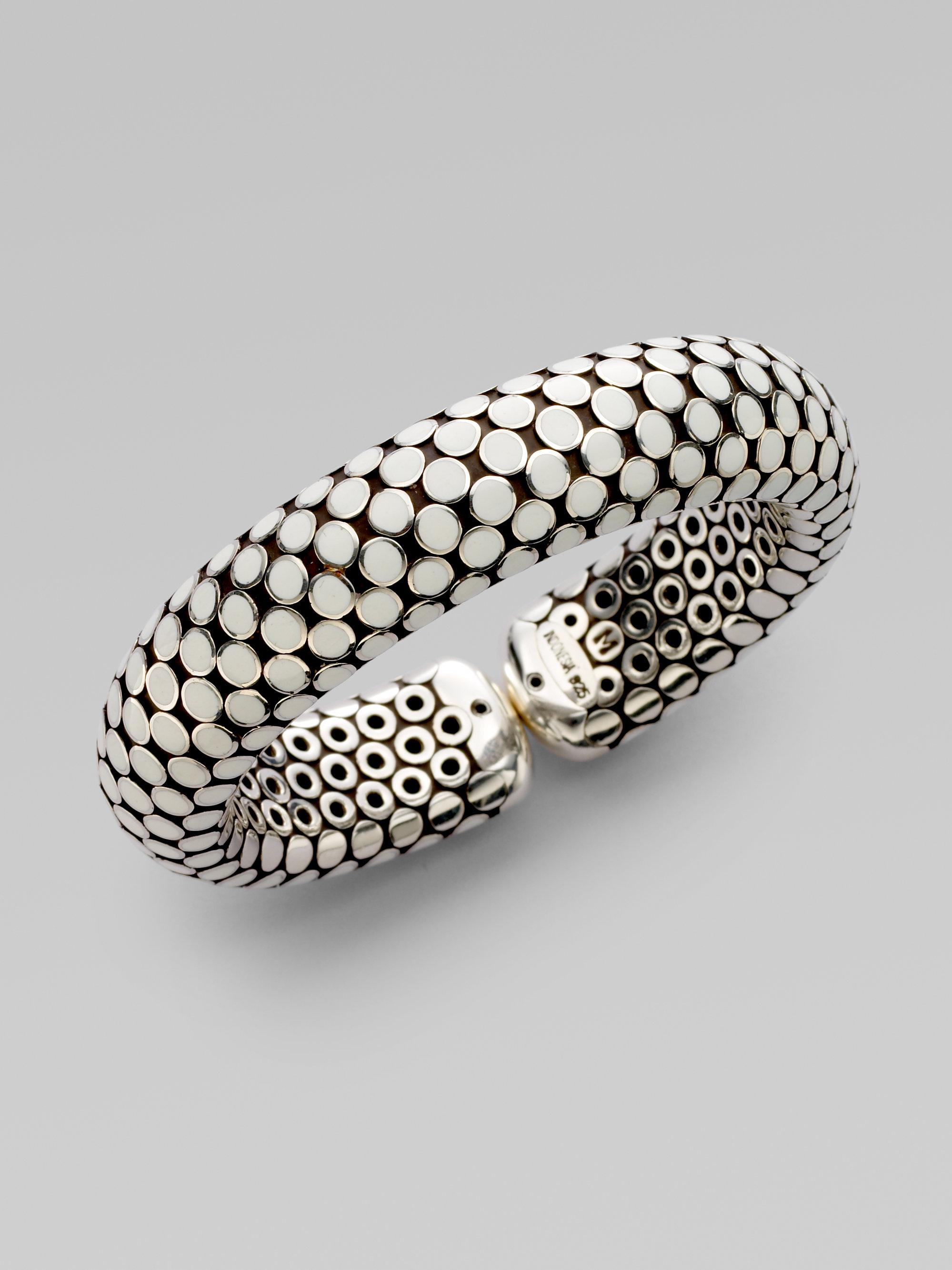 White Enamel Dot Cuff Bracelet