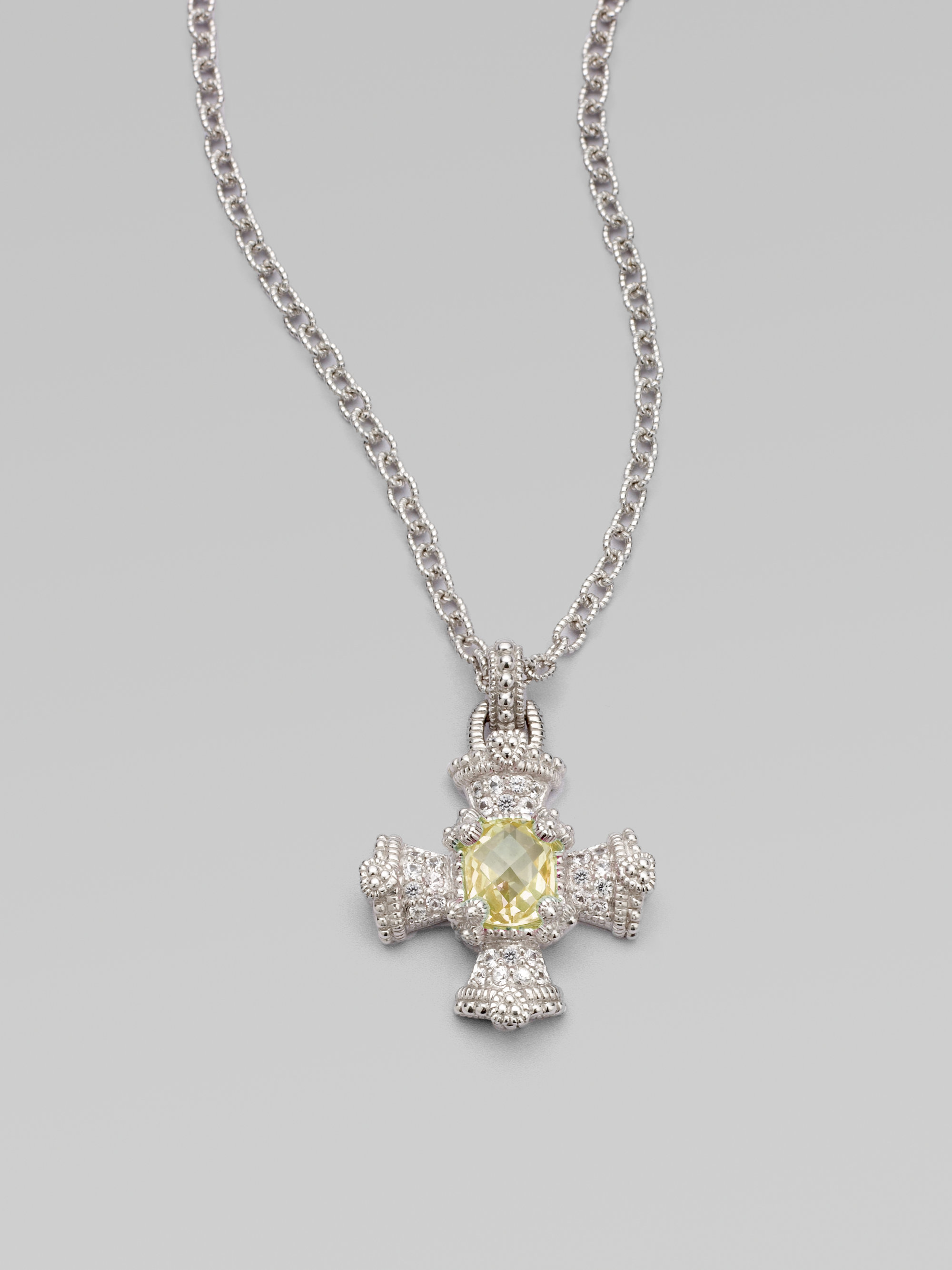 Judith Ripka White Sapphire And Canary Crystal Sterling