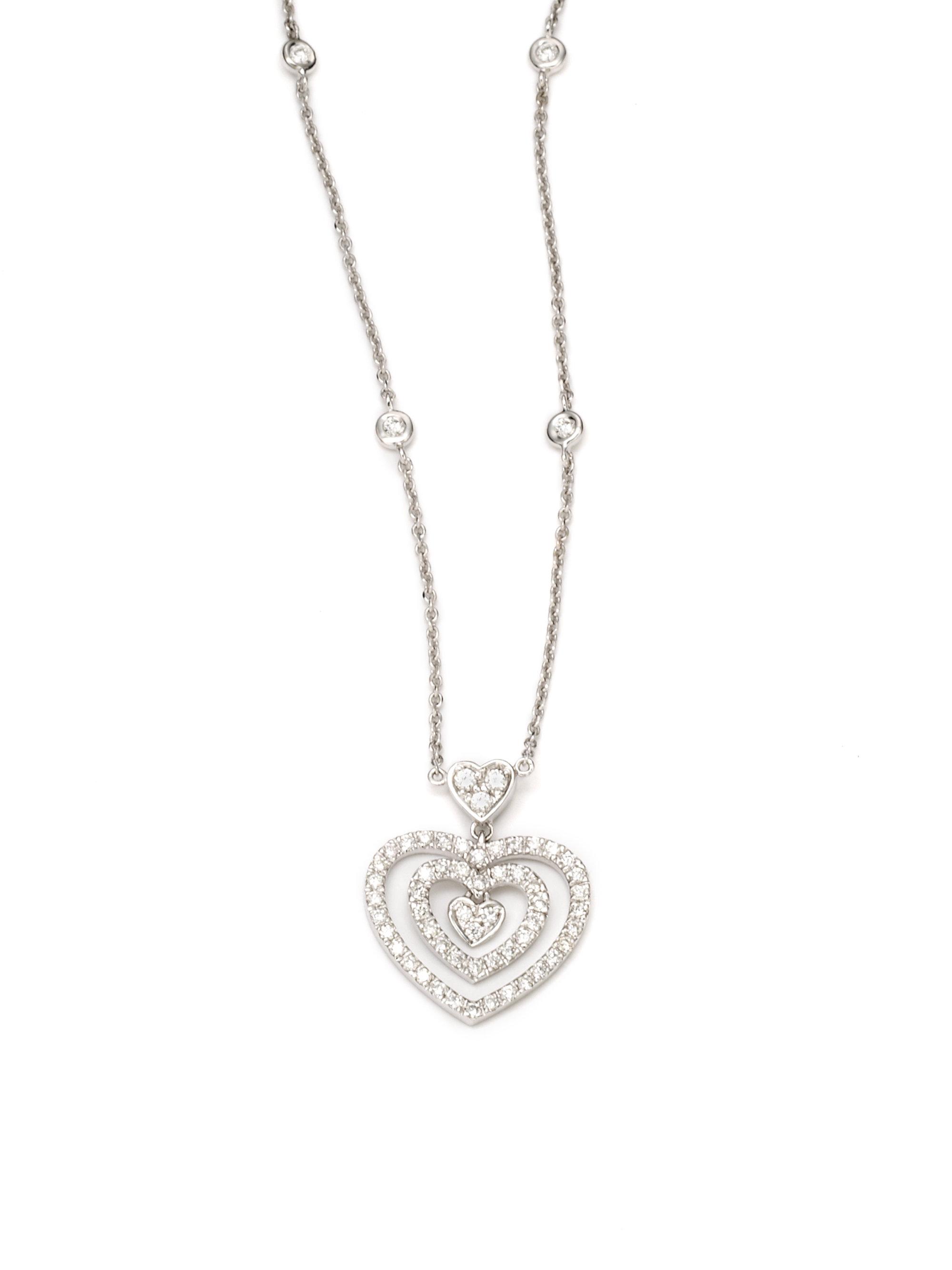 Kc designs Diamond Heart Pendant Necklace in Metallic