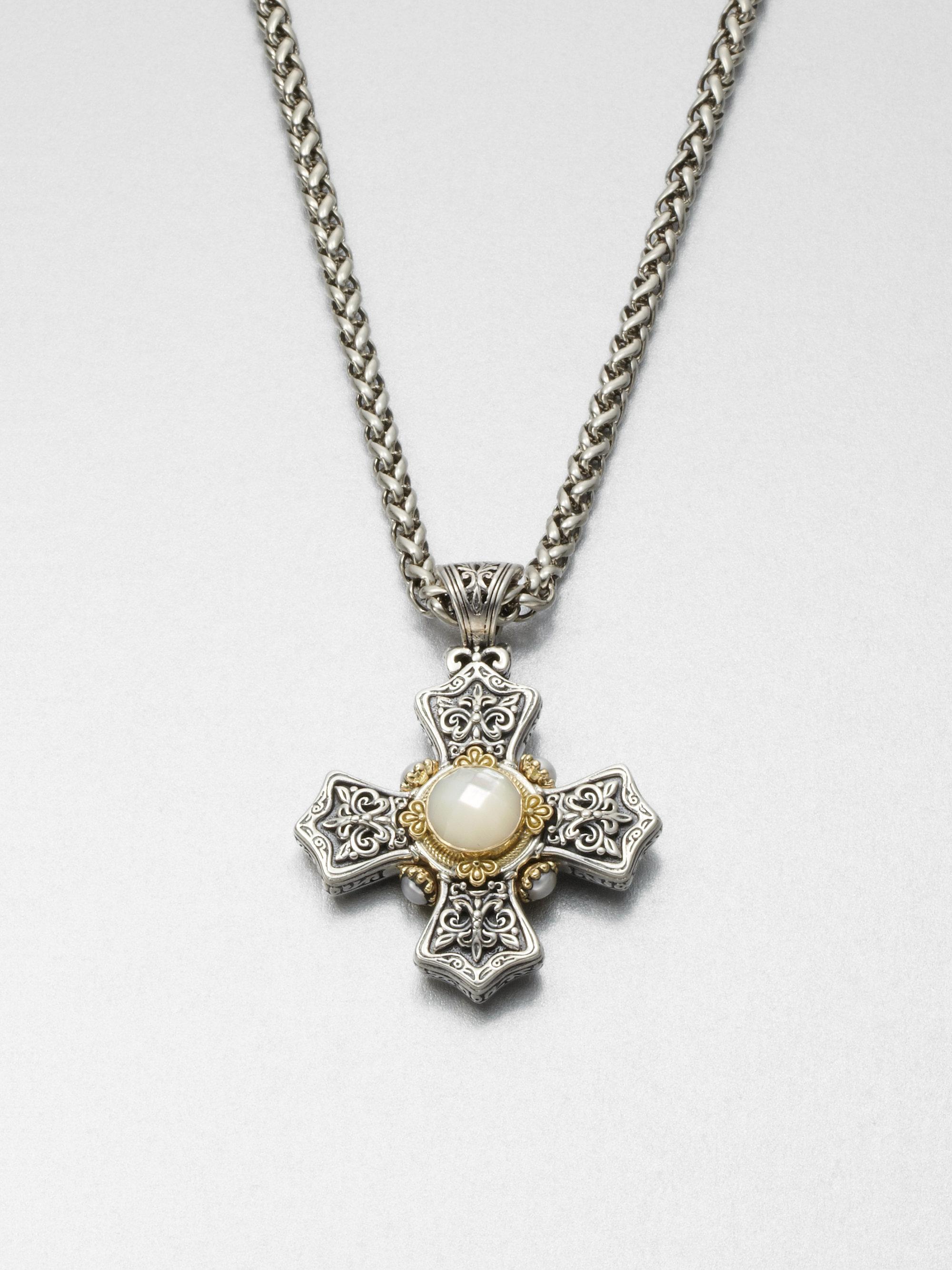 Konstantino Motherofpearl 18k Gold Sterling Silver Cross Pendant