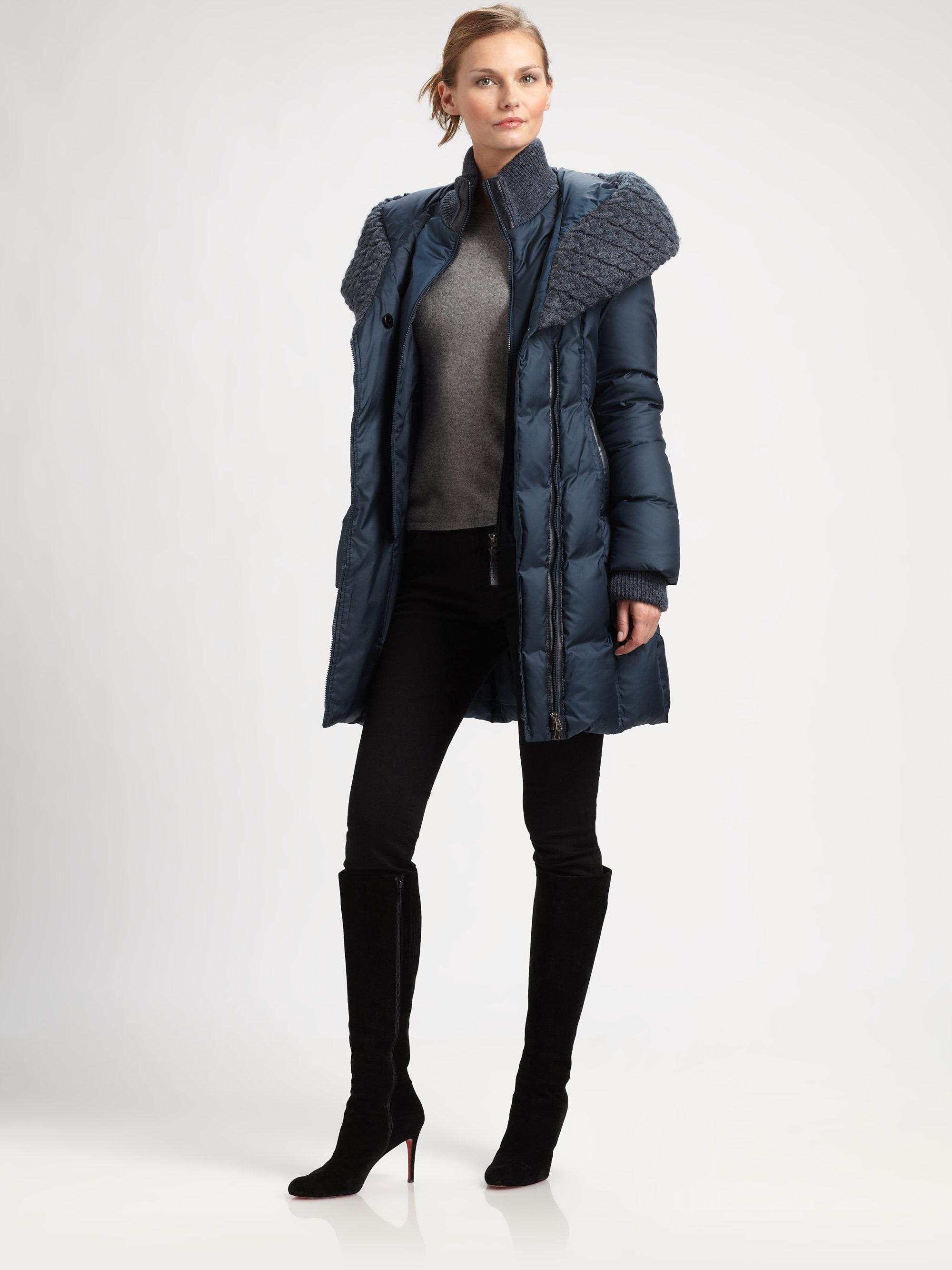 Mackage Hooded Down Coat in Blue | Lyst