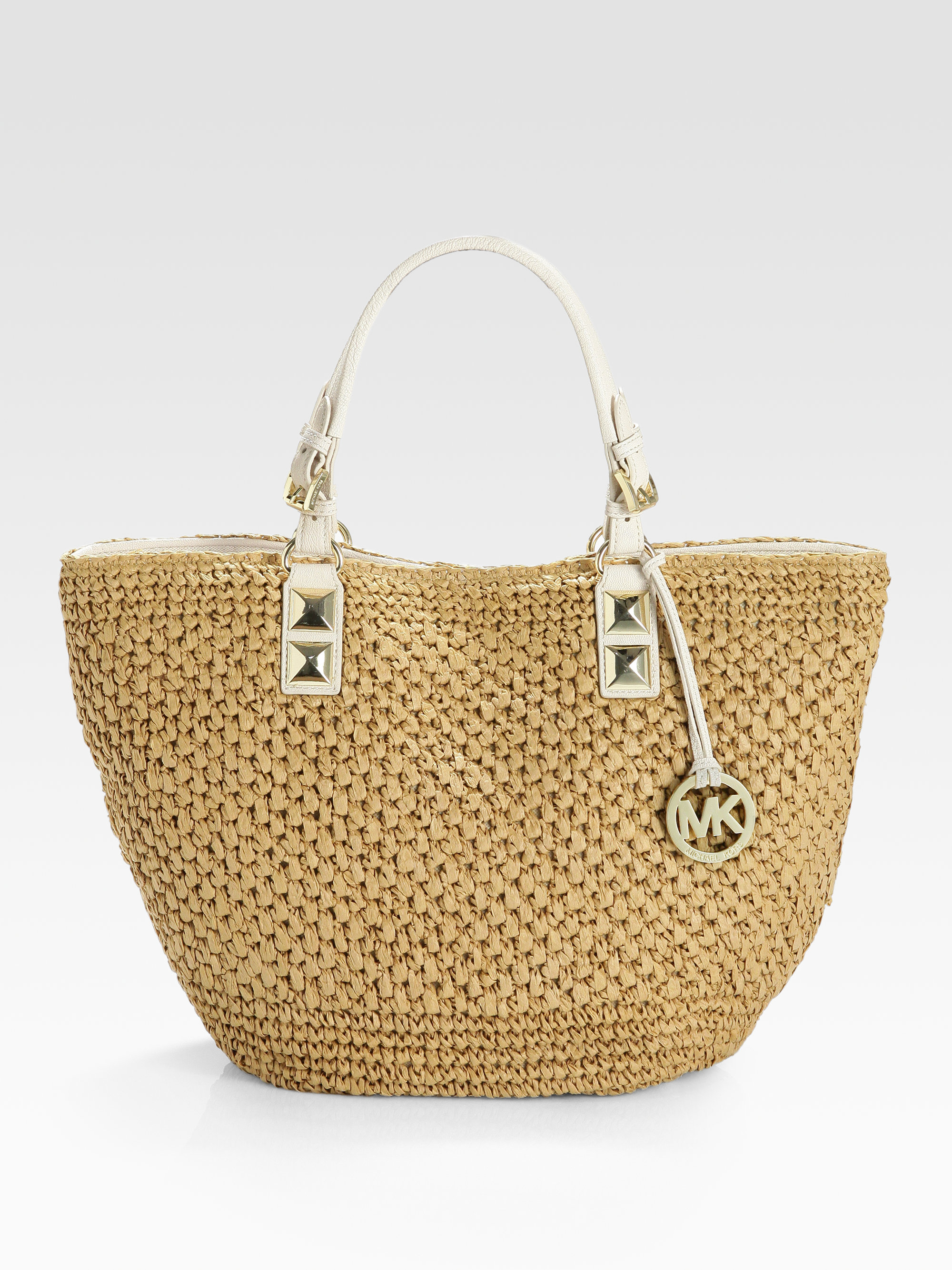 1ba600dd8c6a ... Medium Raffia Messenger NATURALGOLD Michael michael kors Santorini  Straw Tote in Natural Lyst ...