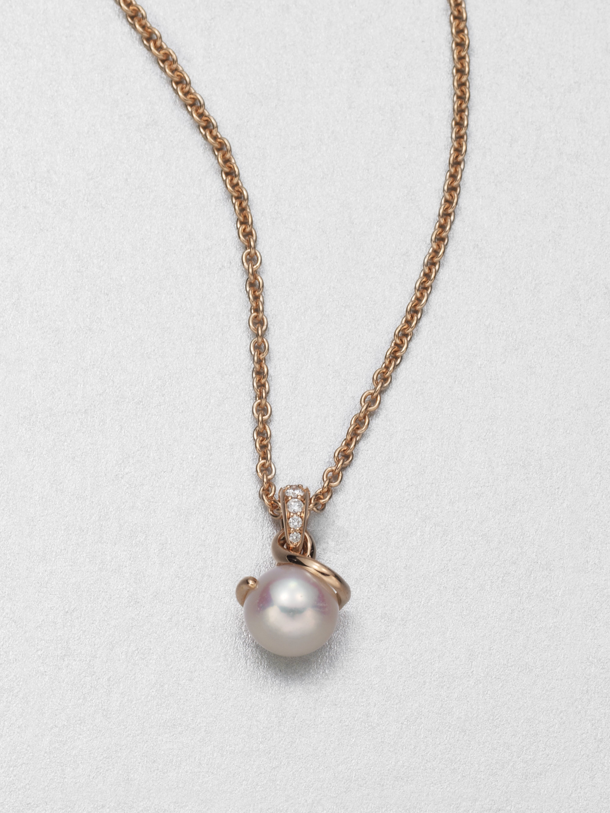 Mikimoto 8mm White Akoya Pearl 18k Rose Gold Diamond