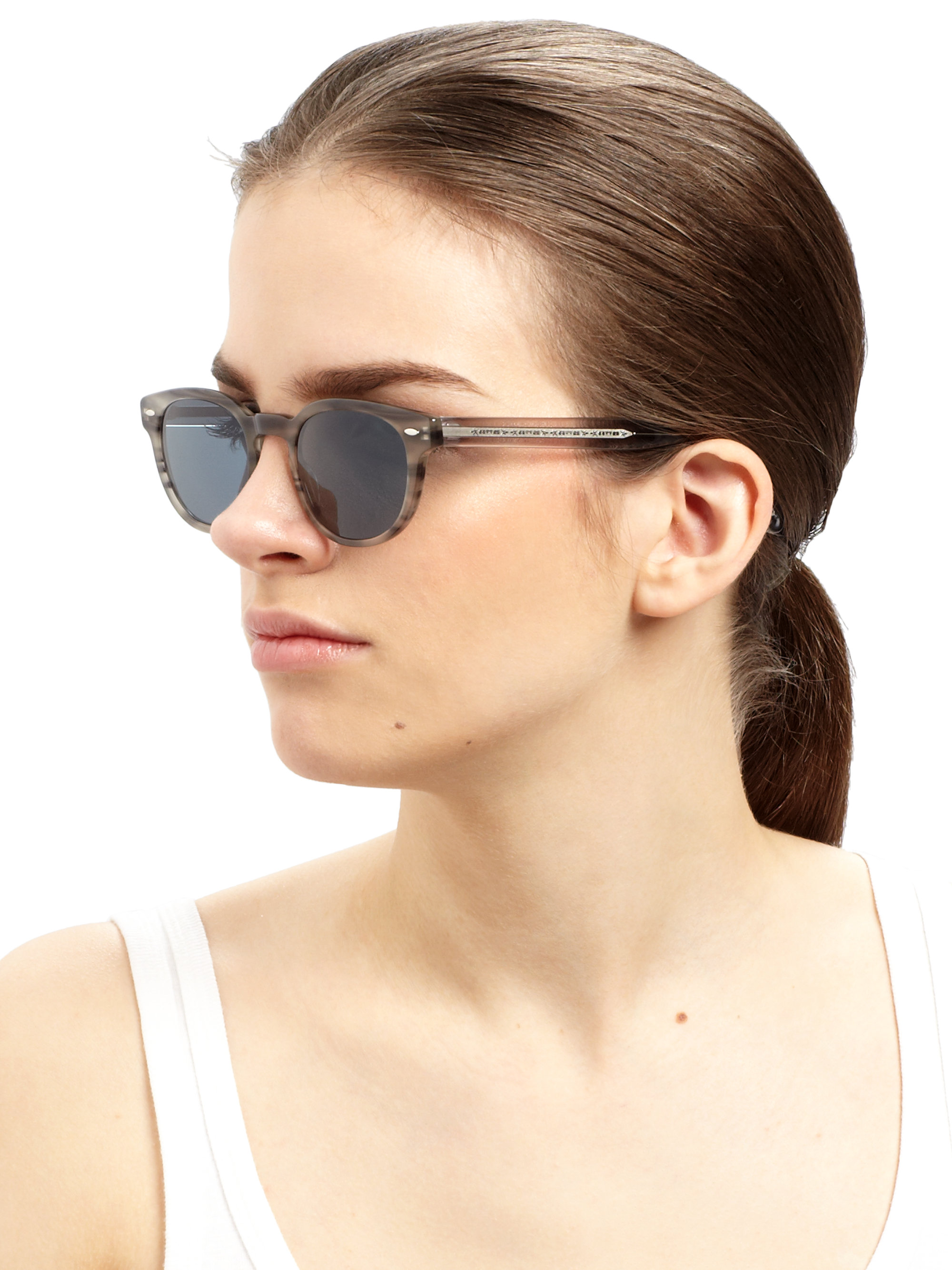 d81f241f81 Oliver Peoples Sheldrake Oval Sunglasses in Gray - Lyst