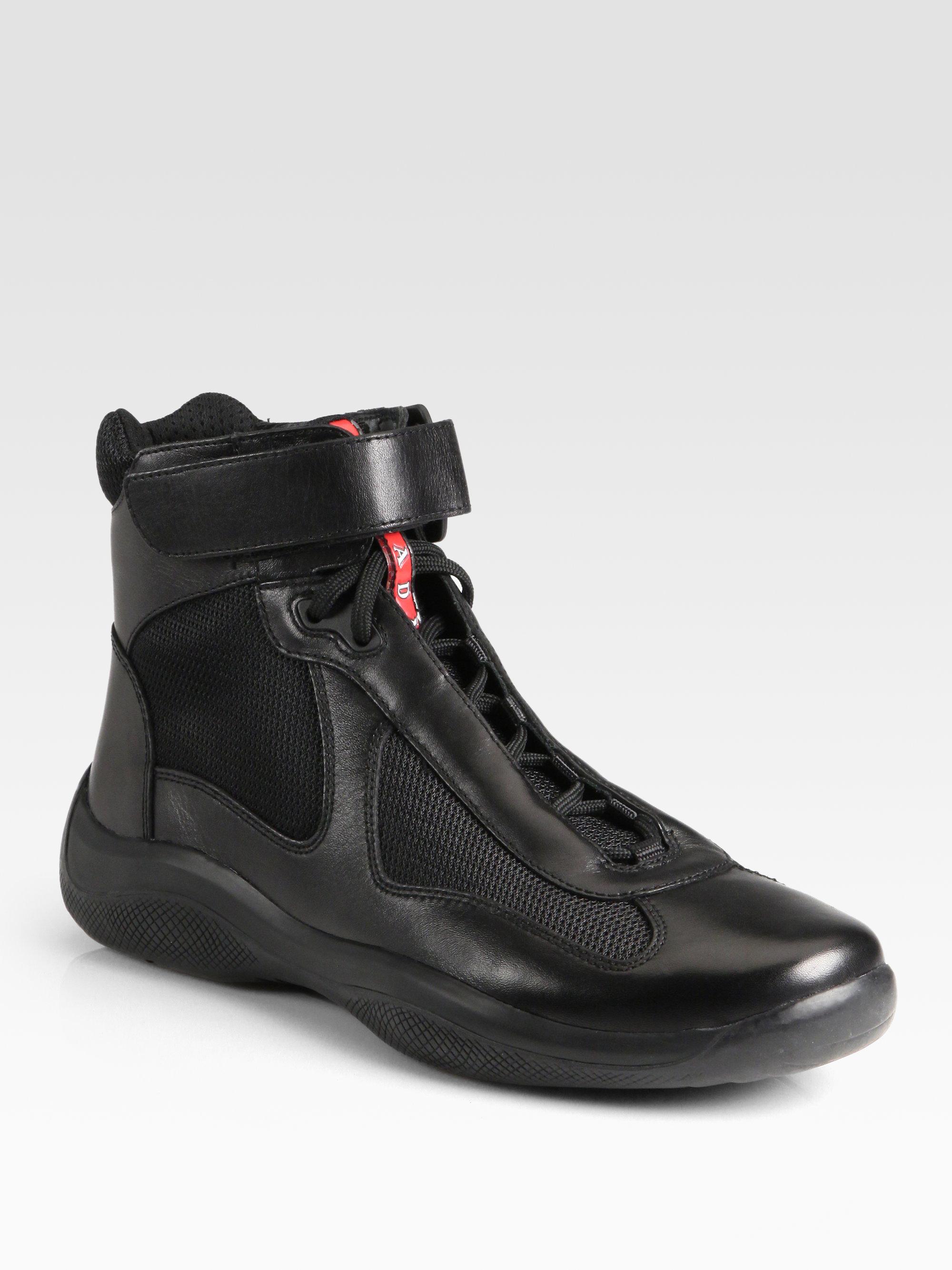 Avenue Ankle Inserts Sneakers Boots Silver In Prada Black Lyst OPXwZikuT