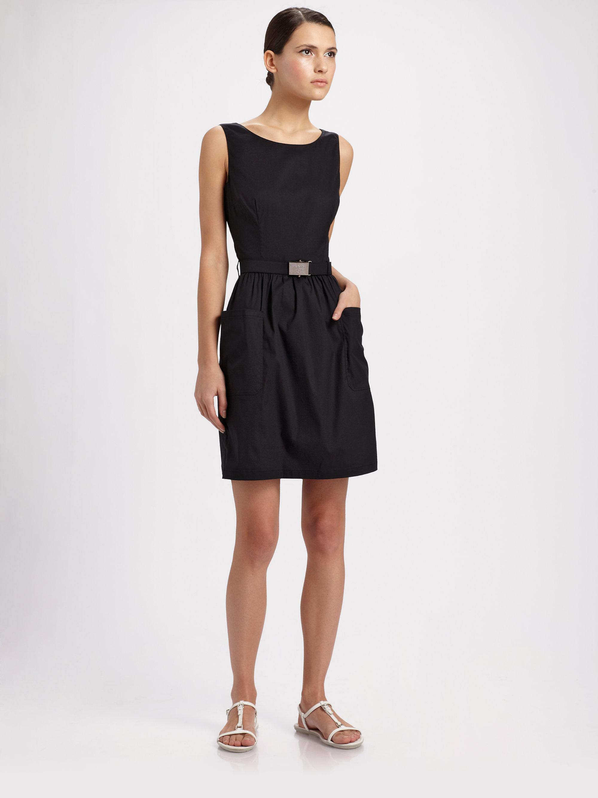Lyst Prada Poplin Sleeveless Belted Dress In Black