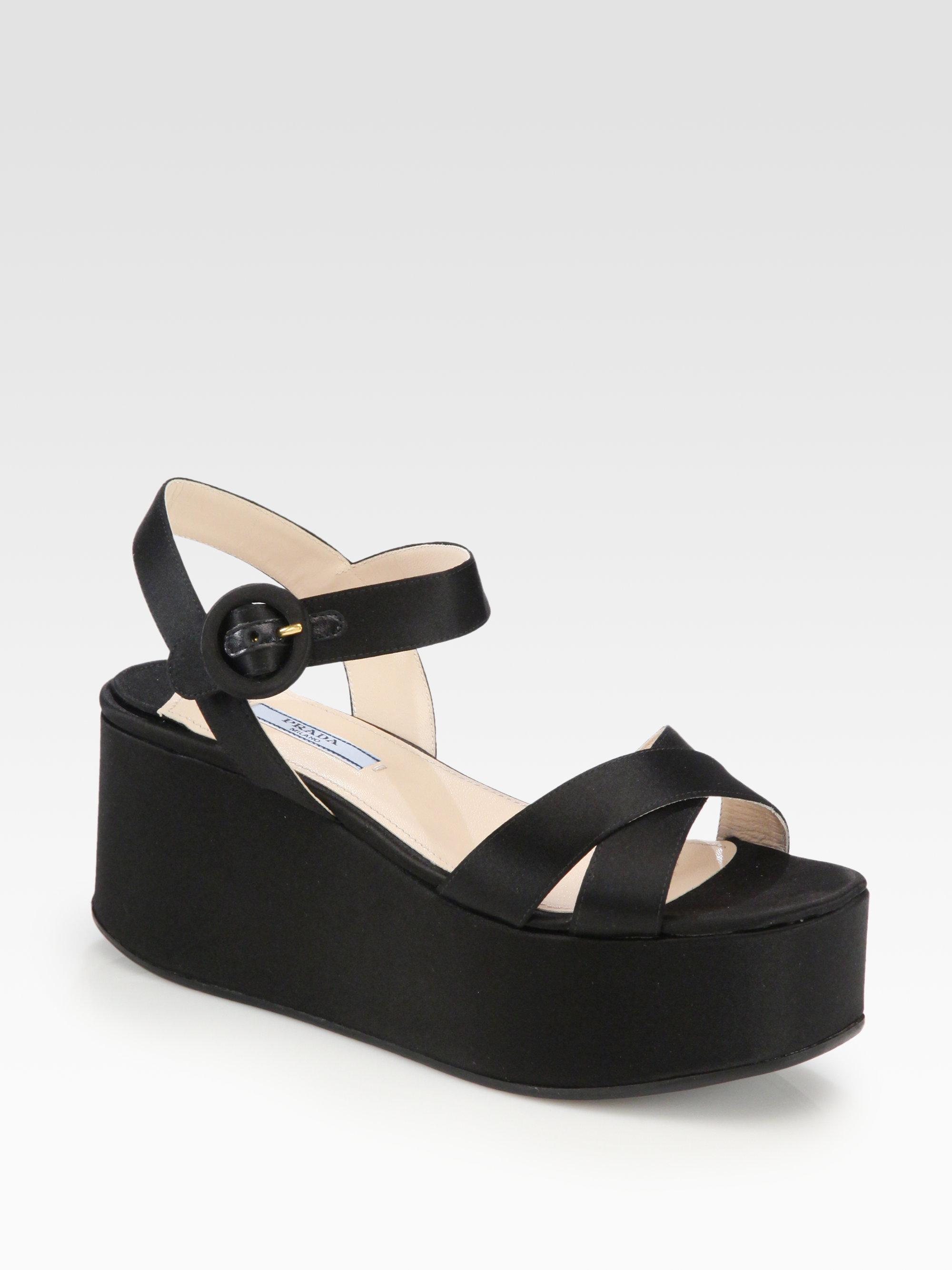 0178024b3 Prada Satin Platform Wedge Sandals in Black - Lyst