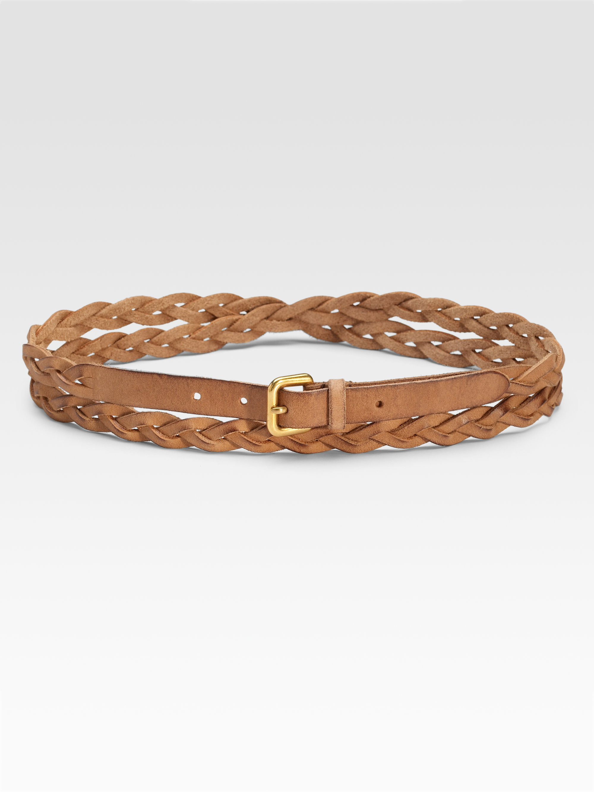 prada braided cuoio belt in brown brown lyst
