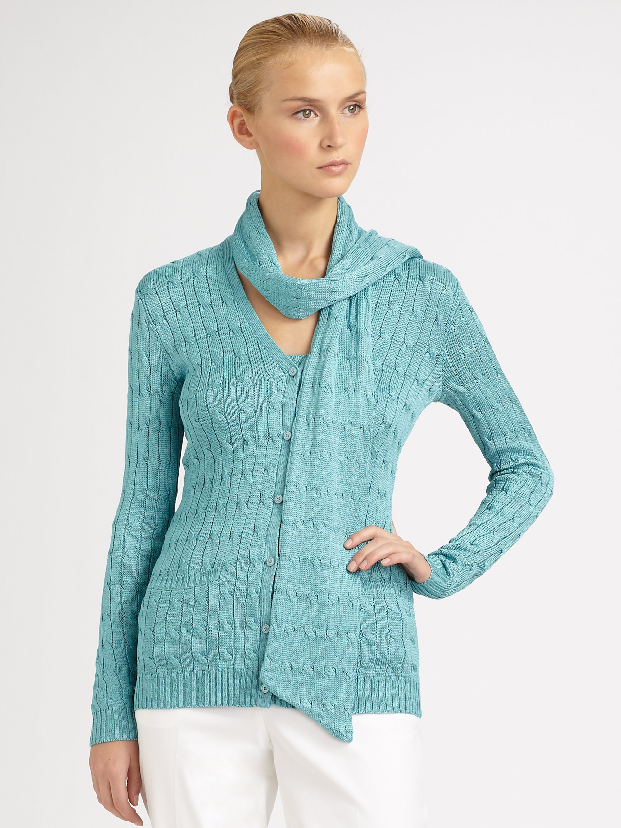 ralph black label cable knit silk cardigan and