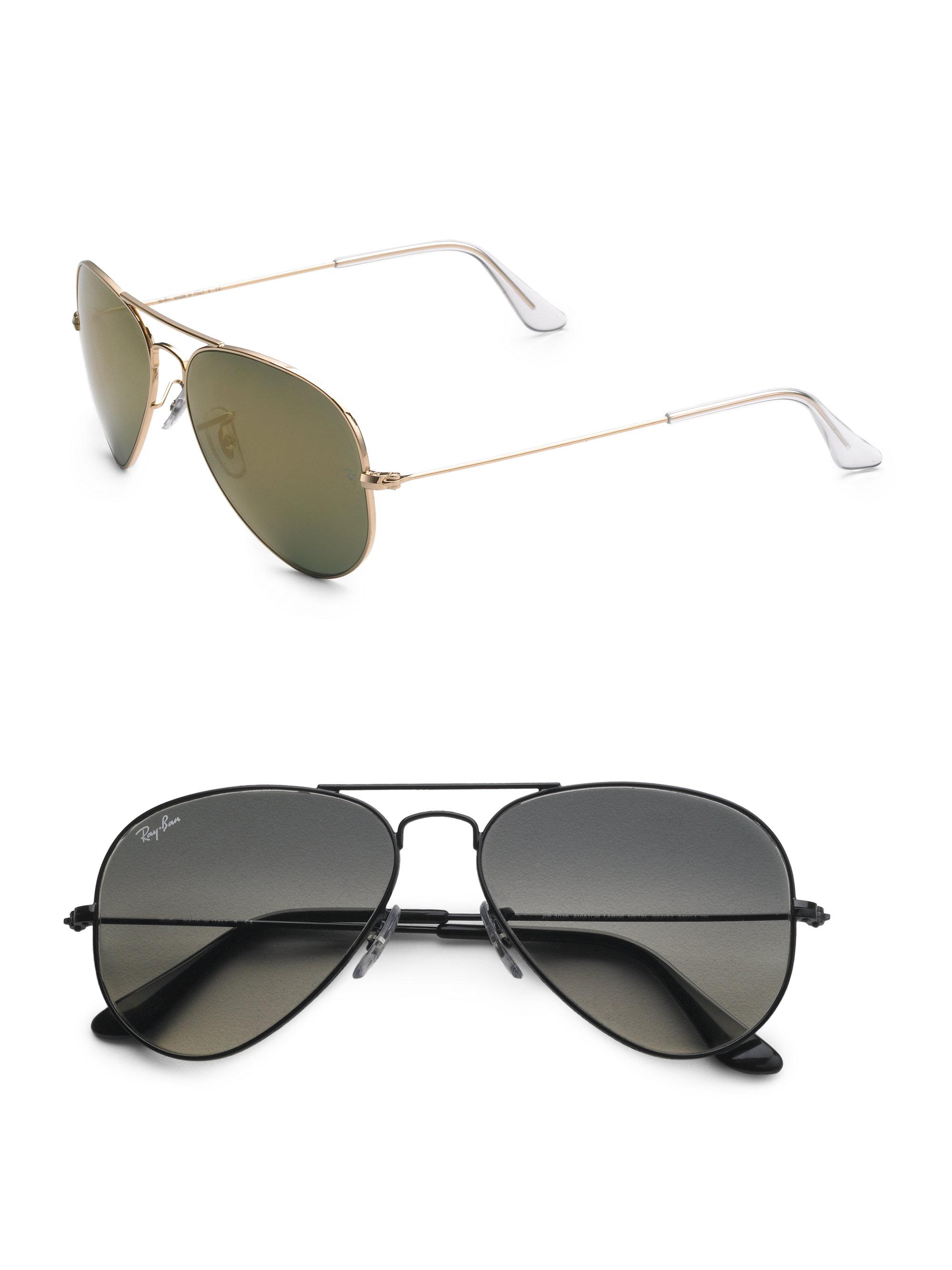 ray ban aviator sunglasses in silver for men silver. Black Bedroom Furniture Sets. Home Design Ideas
