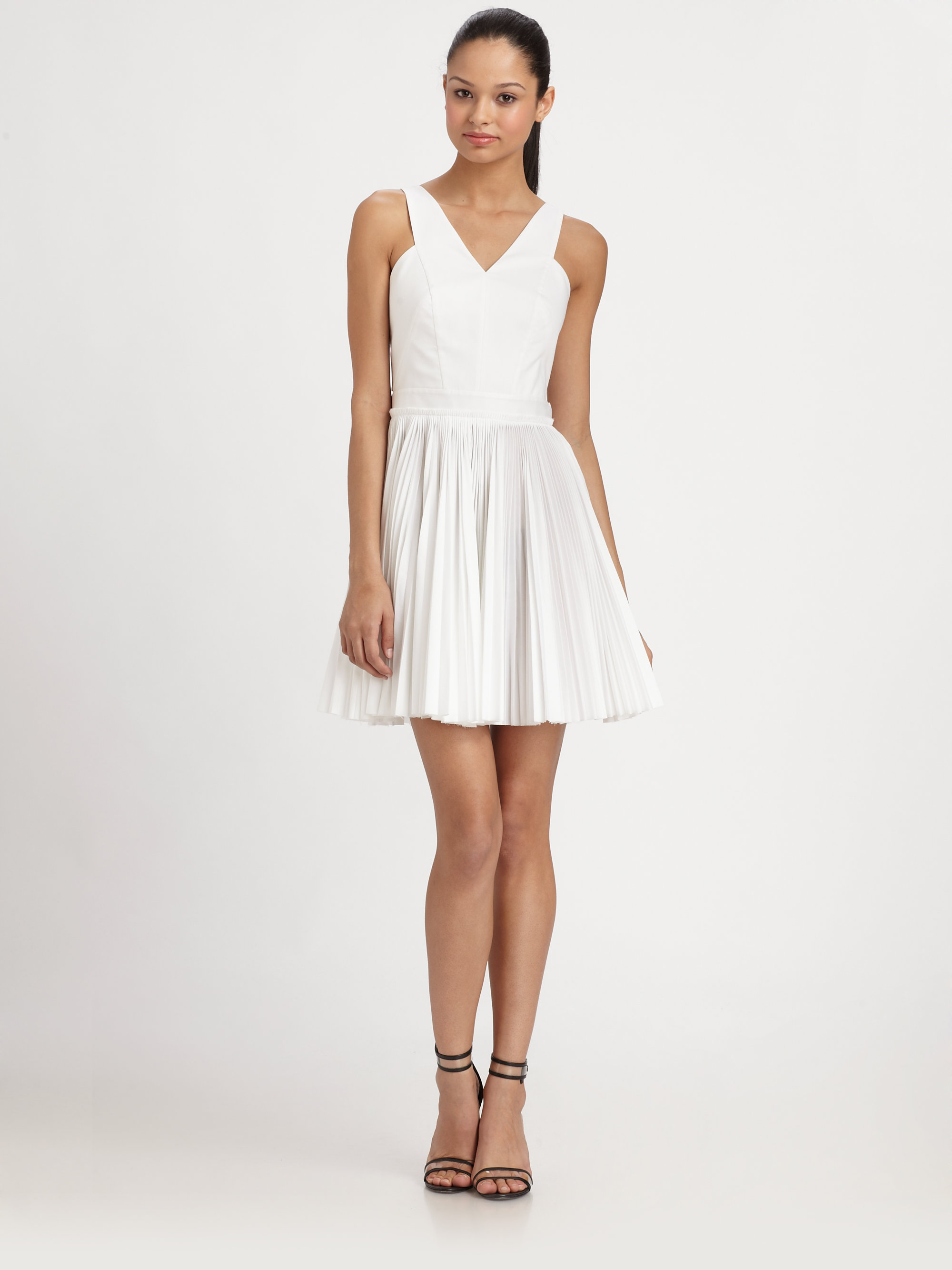 Robert Rodriguez Pleated Cutout Dress In White Lyst