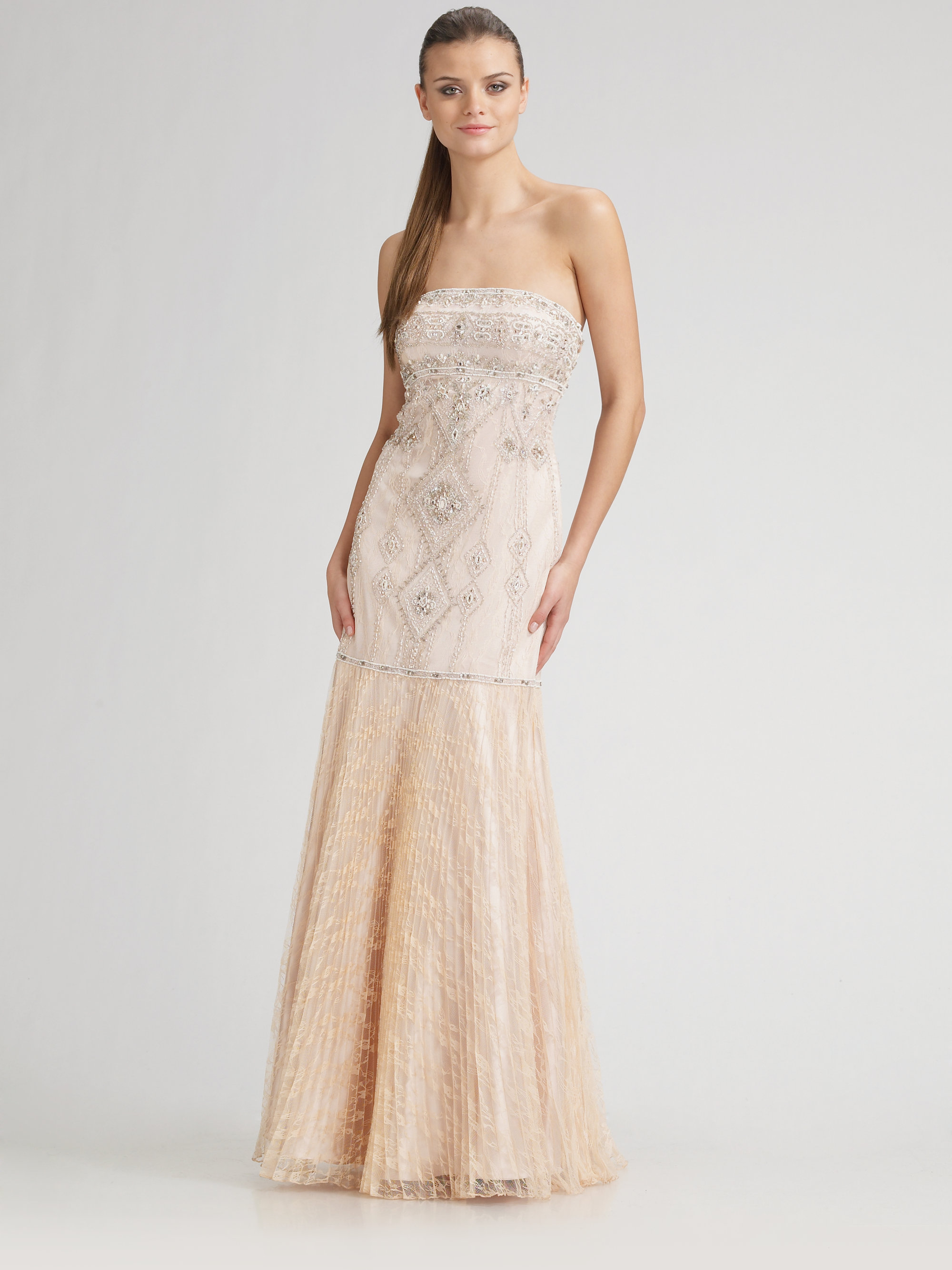 Sue wong Strapless Beaded Gown in Natural - Lyst