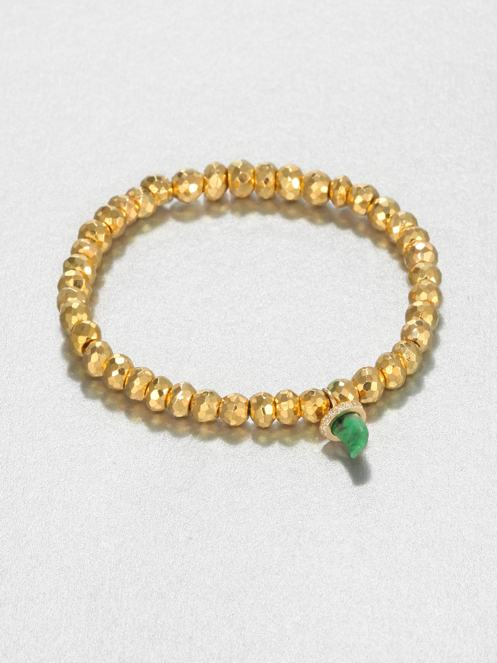 Sydney Evan 7mm Beaded Golden Ball Bracelet with Diamond Bead fEw7G