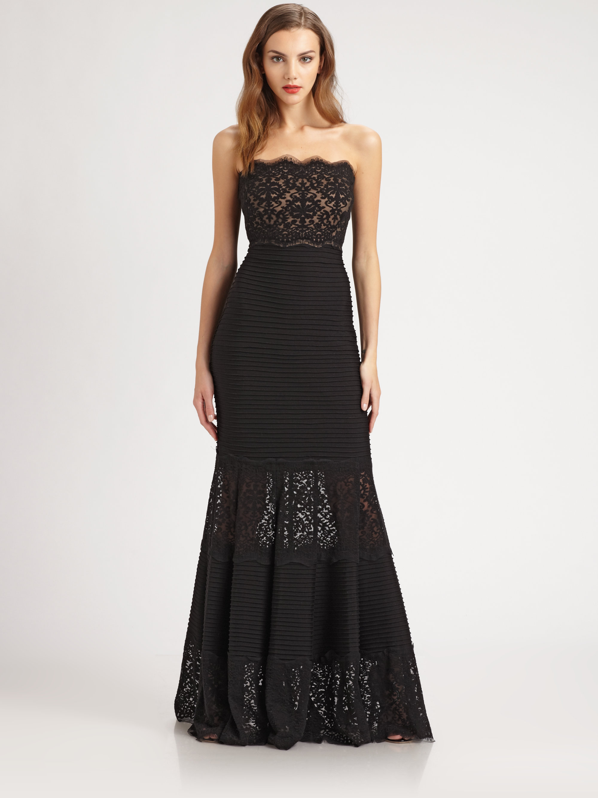 Tadashi Shoji Strapless Pintuck Dress In Black Lyst