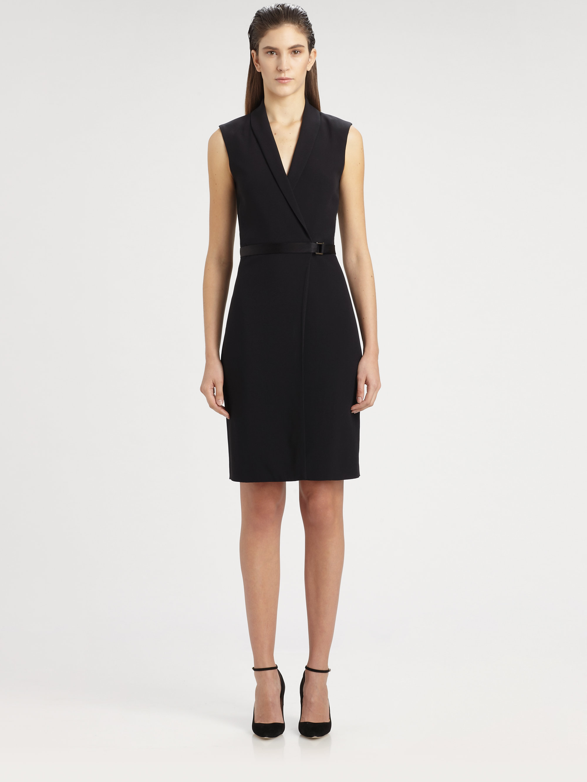 the row mendleton belted dress in black lyst