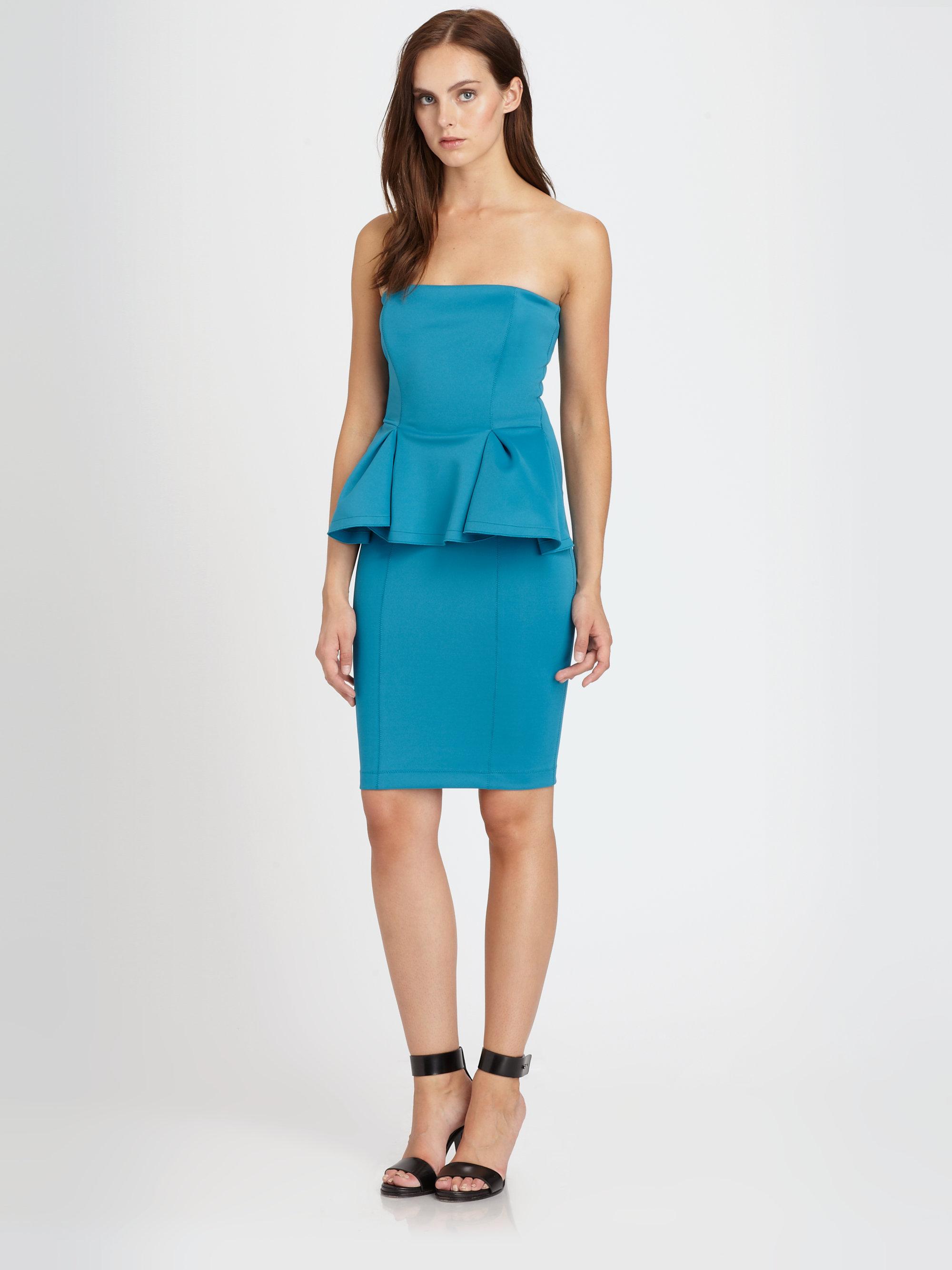 Torn Camilla Strapless Scuba Jersey Peplum Dress in Blue | Lyst