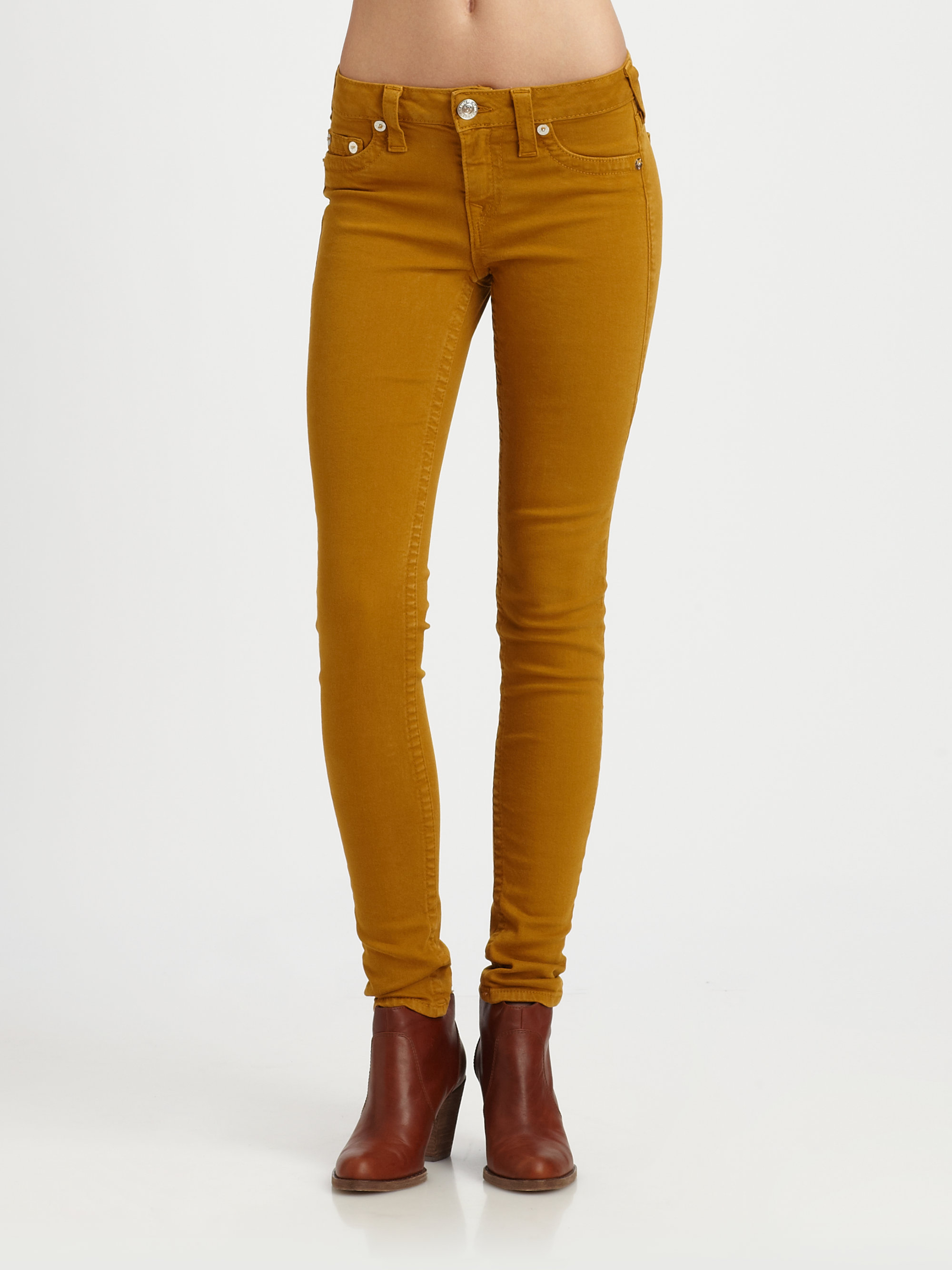 True religion Halle Skinny Jeans in Yellow | Lyst