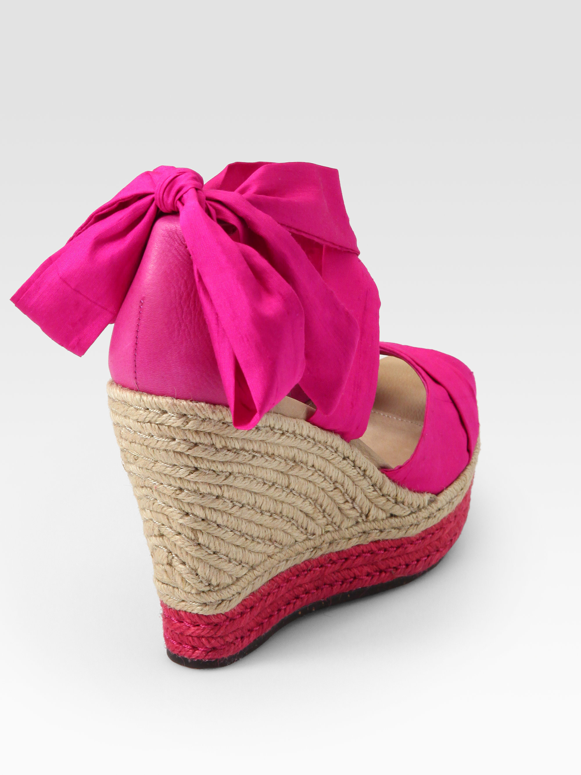 e8a06faec42 UGG Pink Lucianna Silk Leather Espadrille Wedges