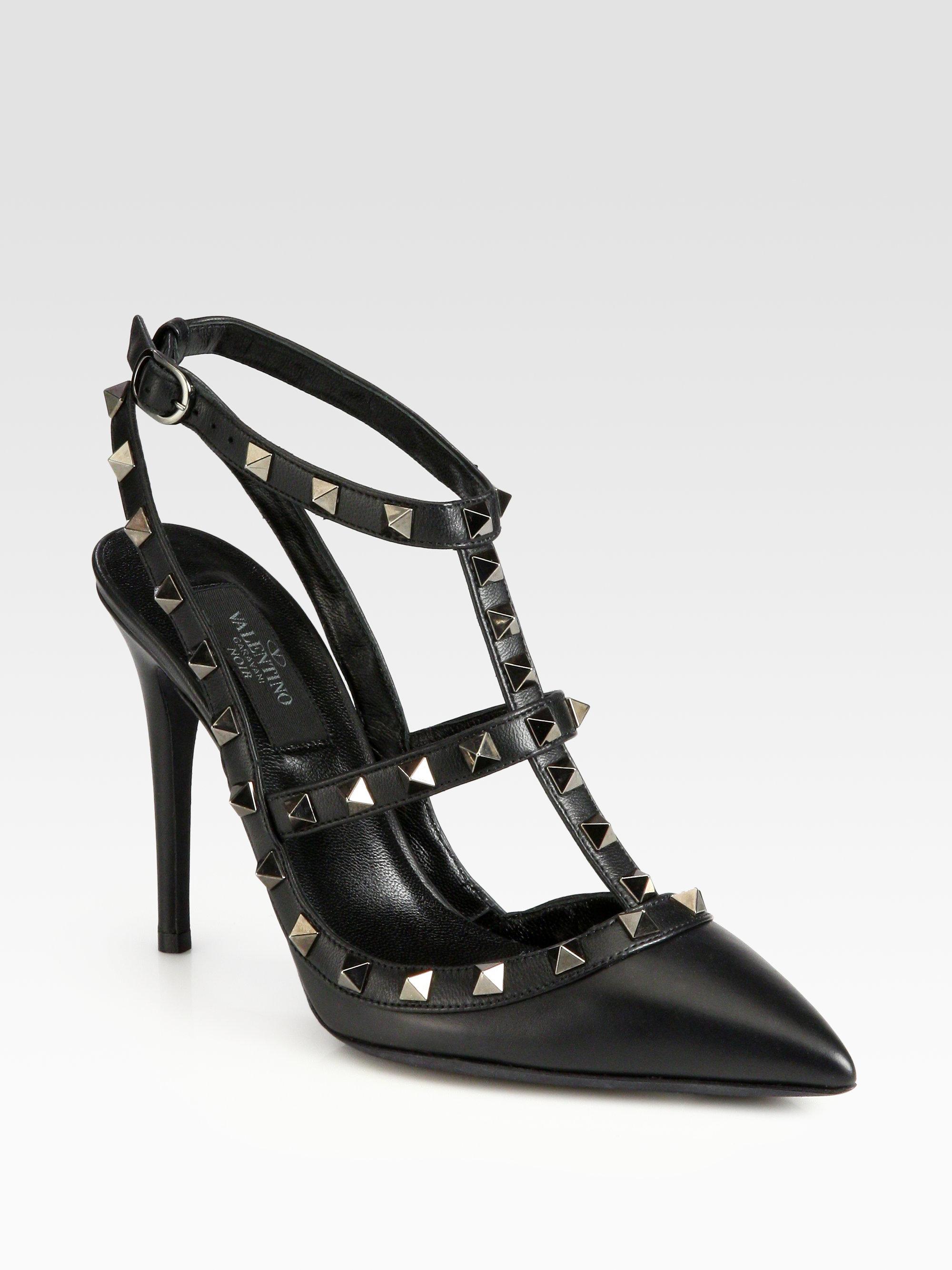 valentino noir rockstud leather crystalcoated slingback. Black Bedroom Furniture Sets. Home Design Ideas
