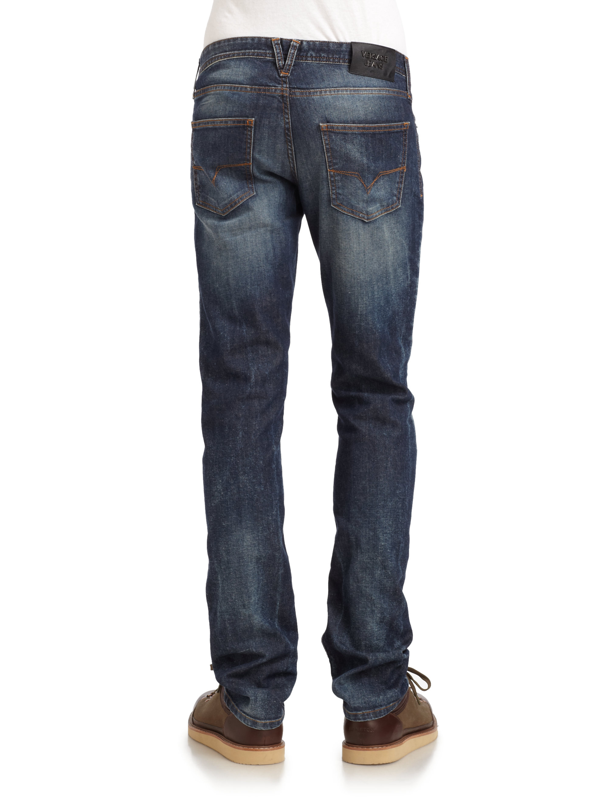 Lyst Versace Jeans Distressed Slimfit Jeans In Blue For Men