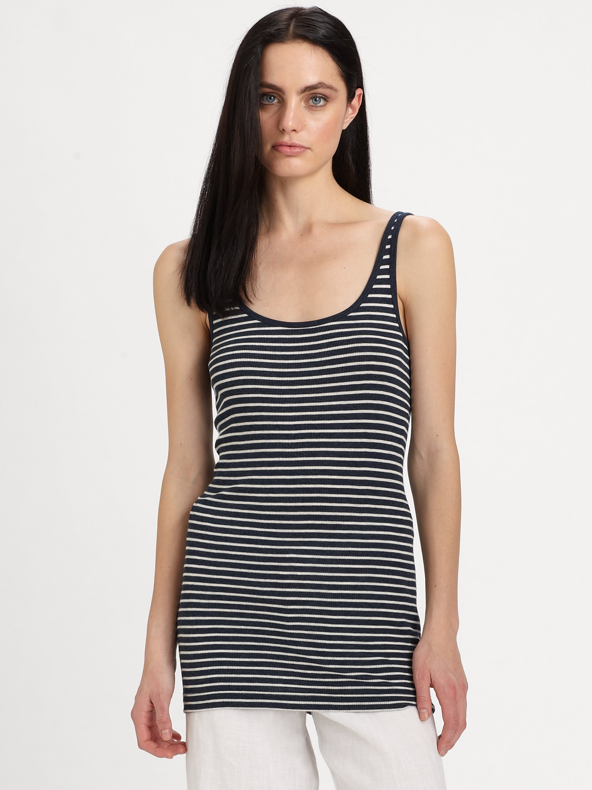 6ee002e241bf4c Lyst - Vince Striped Tank Top in White
