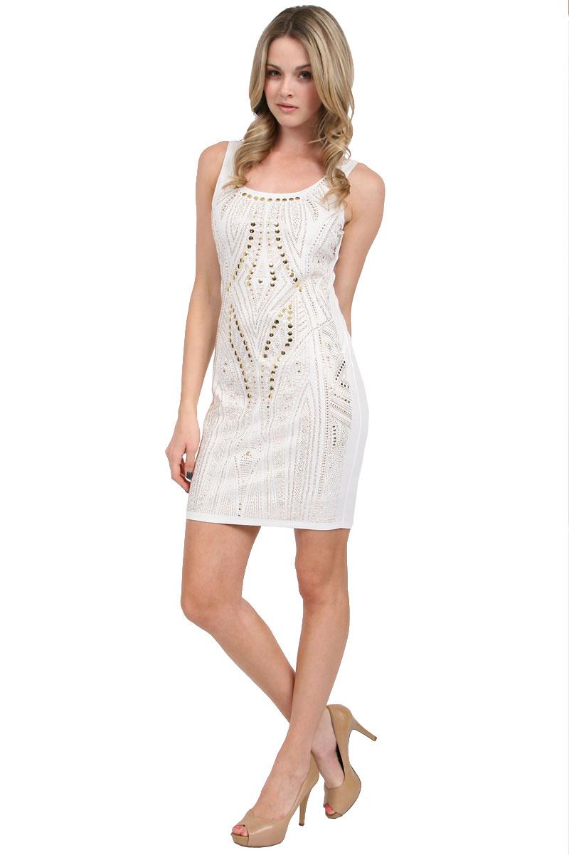 alexia admor micro studded mini dress in white ivorygold
