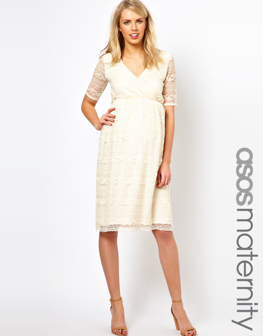Lyst - Asos Maternity Midi Dress in Lace in White