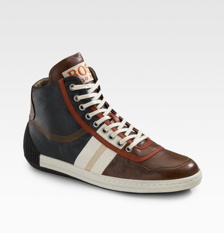 boss orange colorblock hightop sneakers in brown for men. Black Bedroom Furniture Sets. Home Design Ideas
