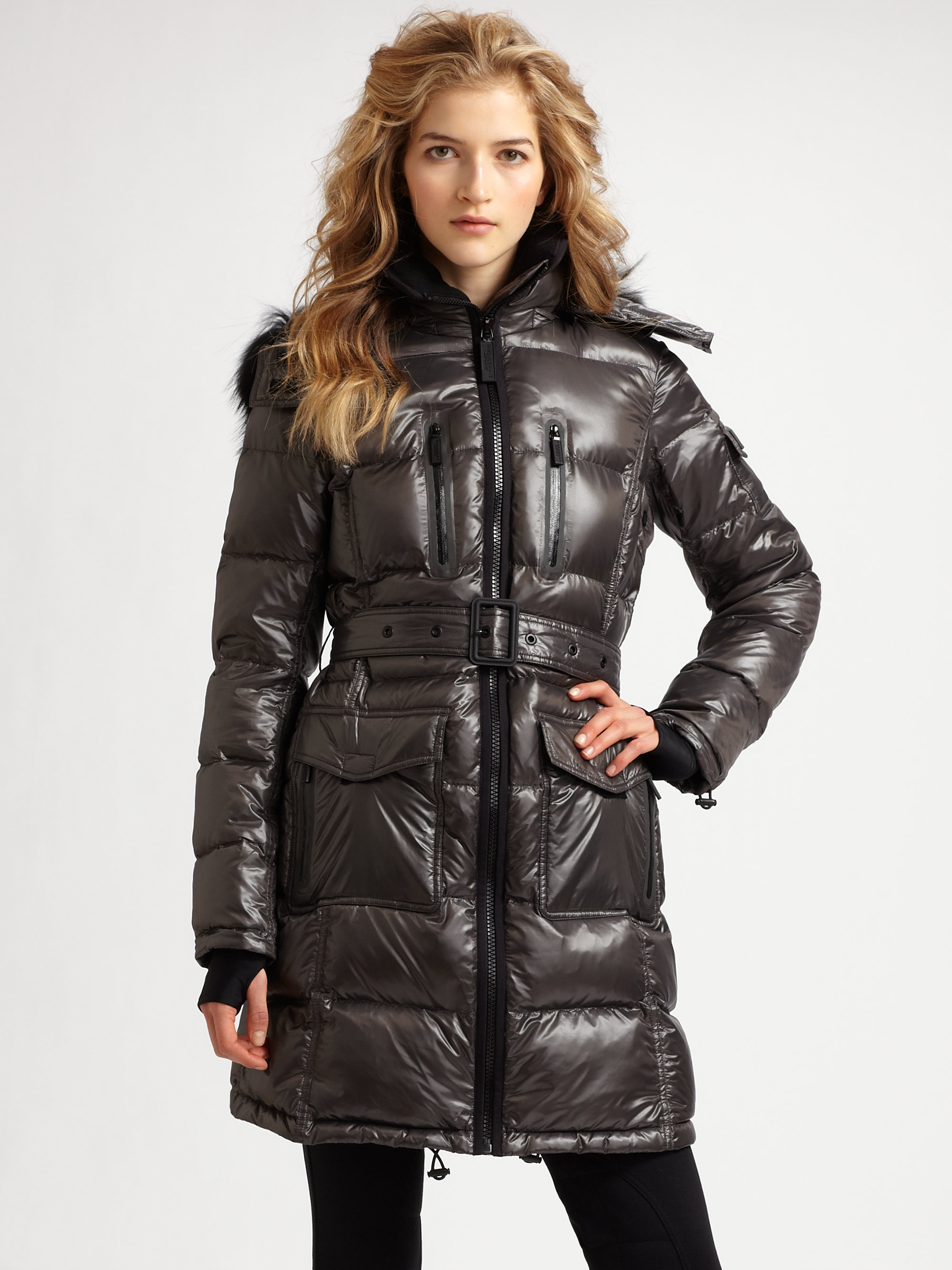 Lyst Burberry Sport Fur Trimmed Quilted Long Puffer Coat