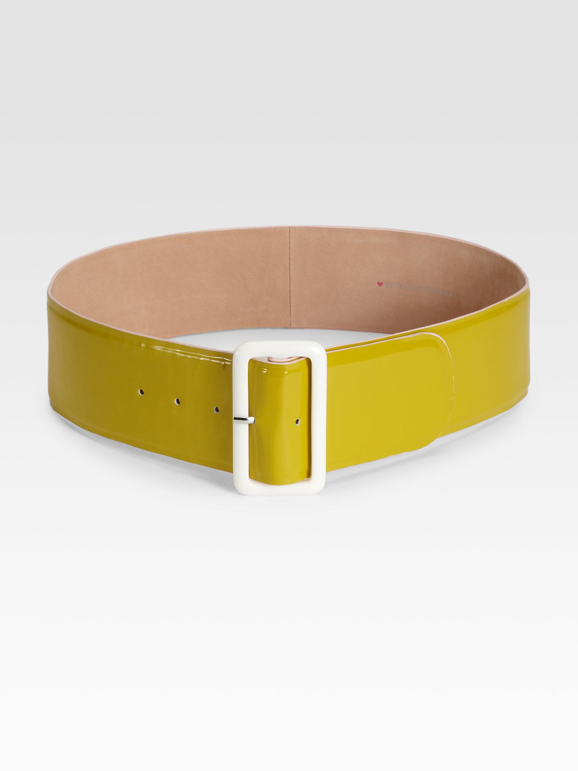 by malene birger wide patent leather belt in green