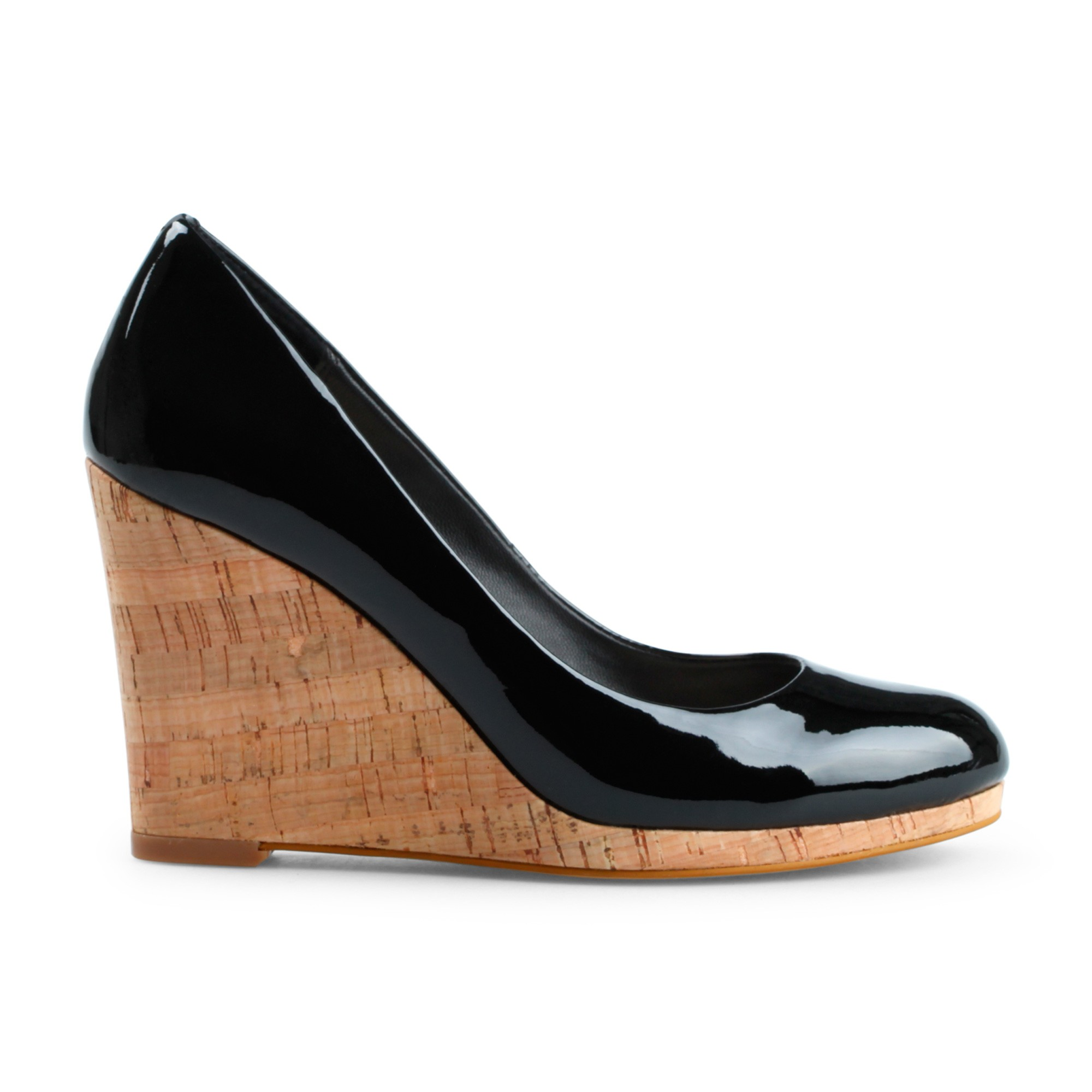 c patent leather cork wedge in black lyst