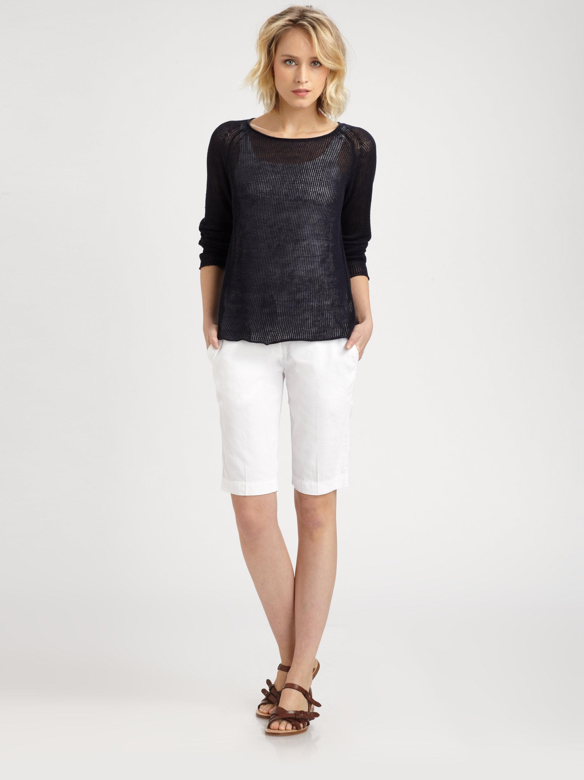 Eileen fisher Walking Shorts in White | Lyst