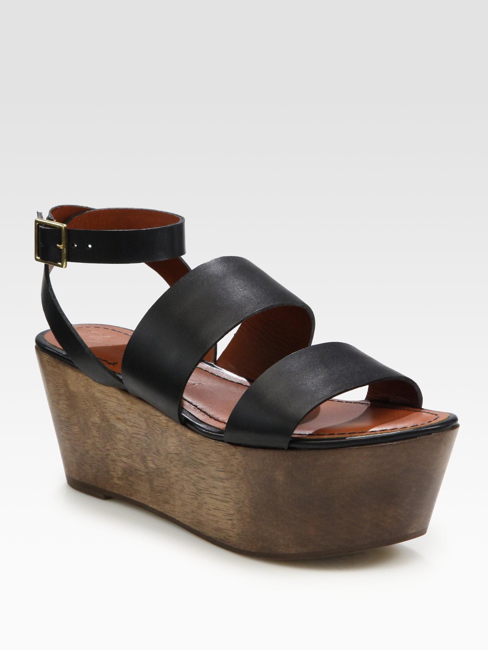 elizabeth and leather wood platform sandals in black