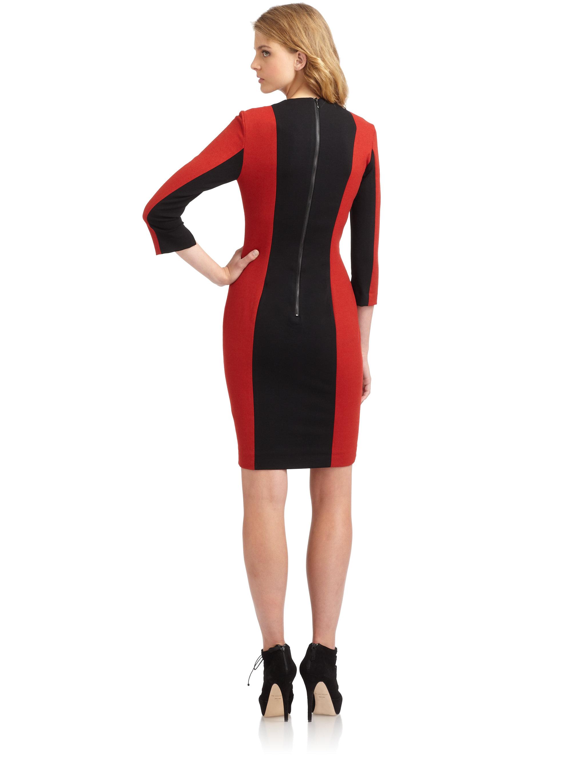 Color block dress red