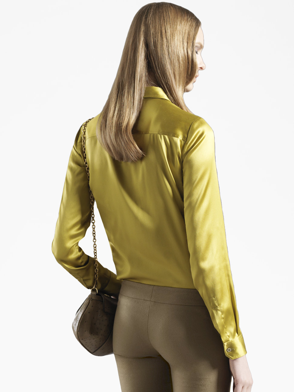 Lyst Gucci Stretch Satin Blouse In Yellow