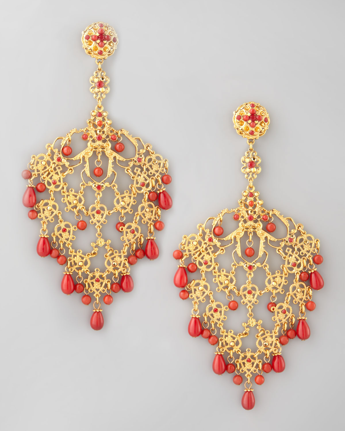Lyst jose maria barrera filigree chandelier clip earrings in gallery aloadofball Images