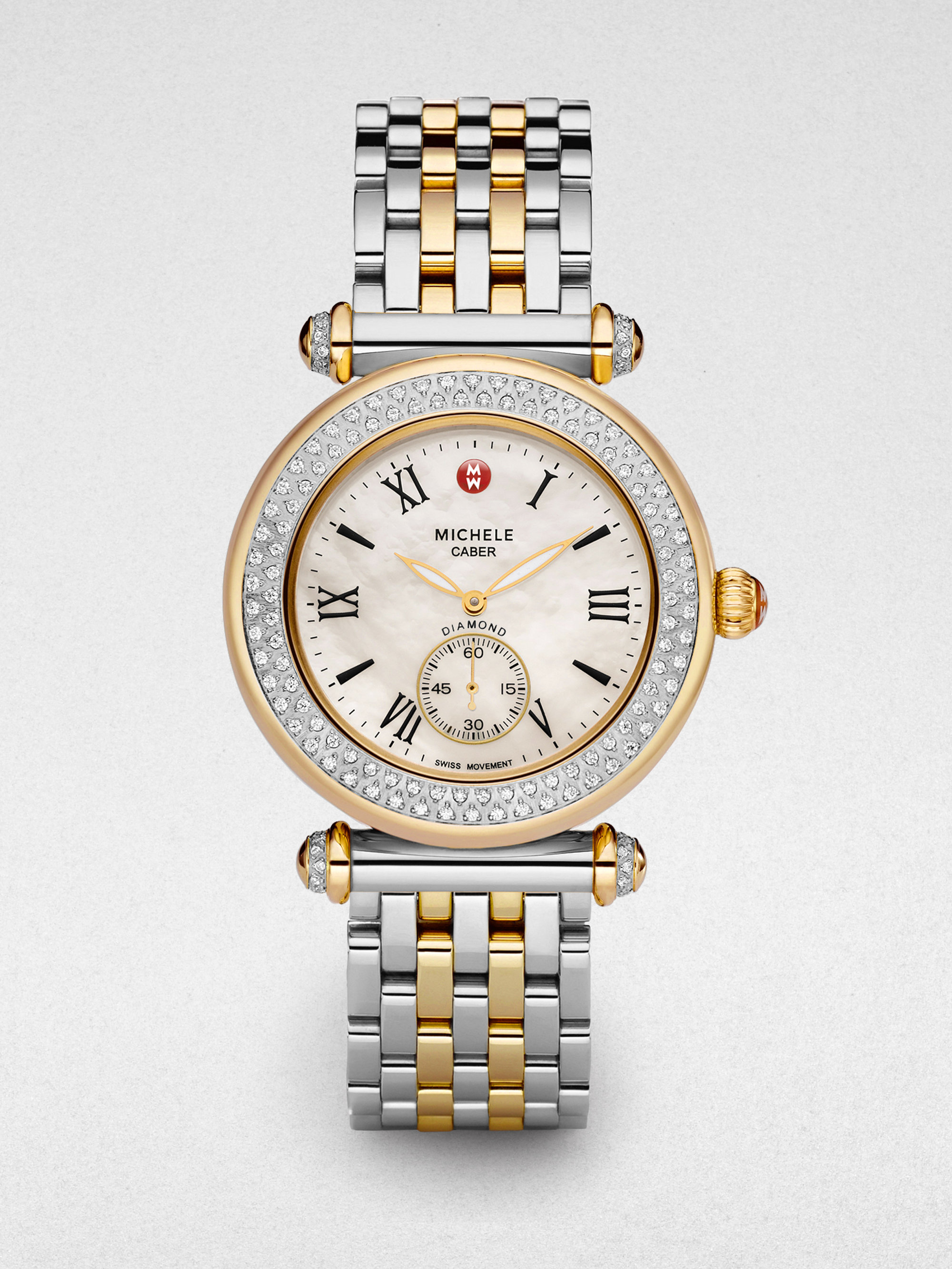 4ad31a723 Michele Caber Diamond Twotone Bracelet Watch in Metallic - Lyst