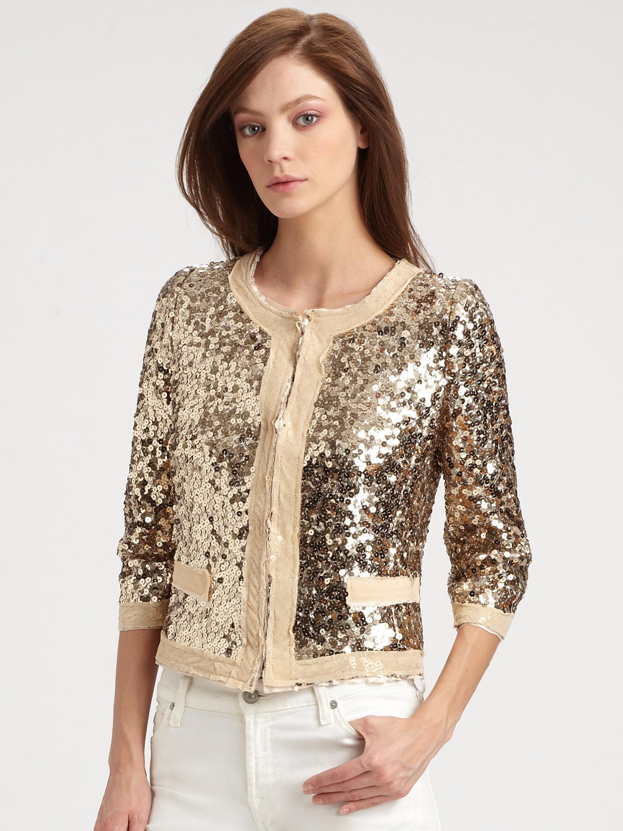 Lyst Milly Adriana Sequin Jacket In Metallic