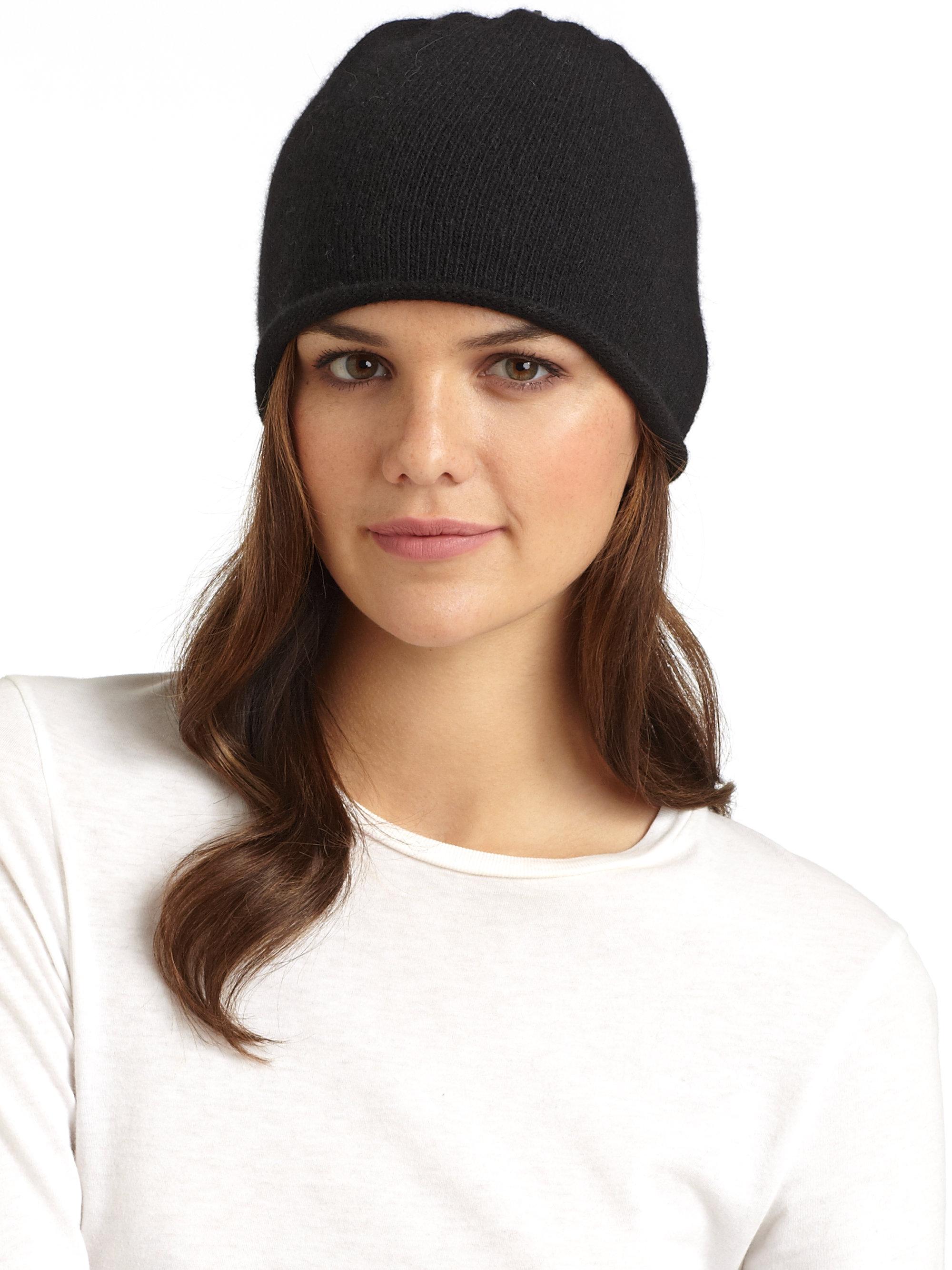 Lyst - Portolano Cashmere Rolled Hem Hat in Black 43a7975480af