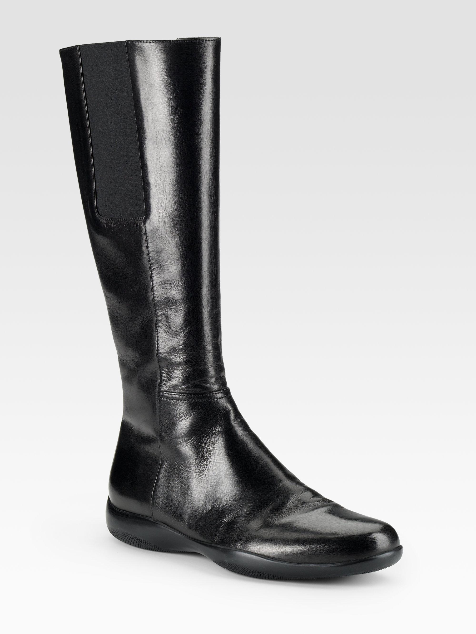 aeb3260f5df Prada Black Tall Flat Boots