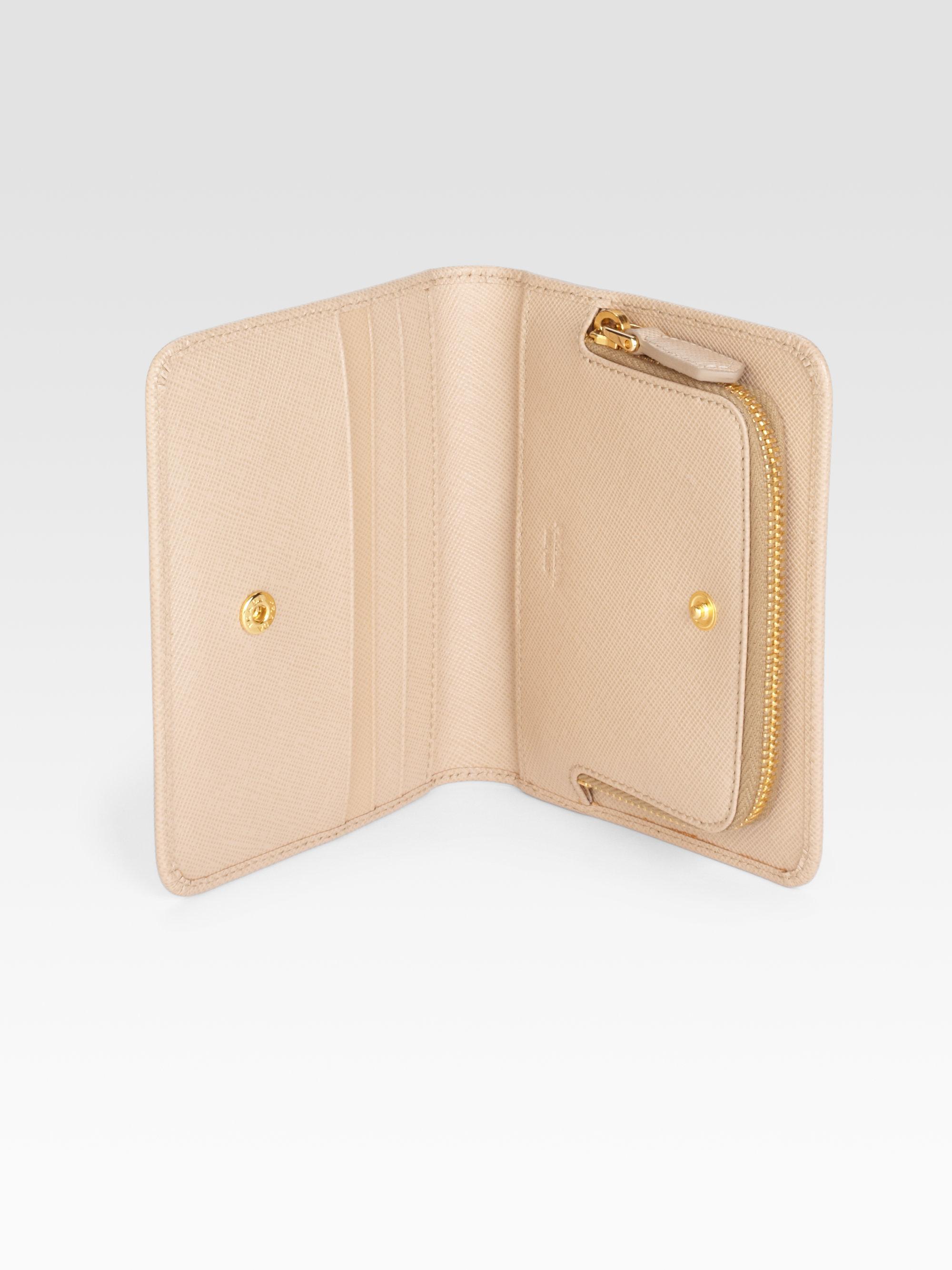 Prada Saffiano Metal Wallet in Beige (sand) | Lyst