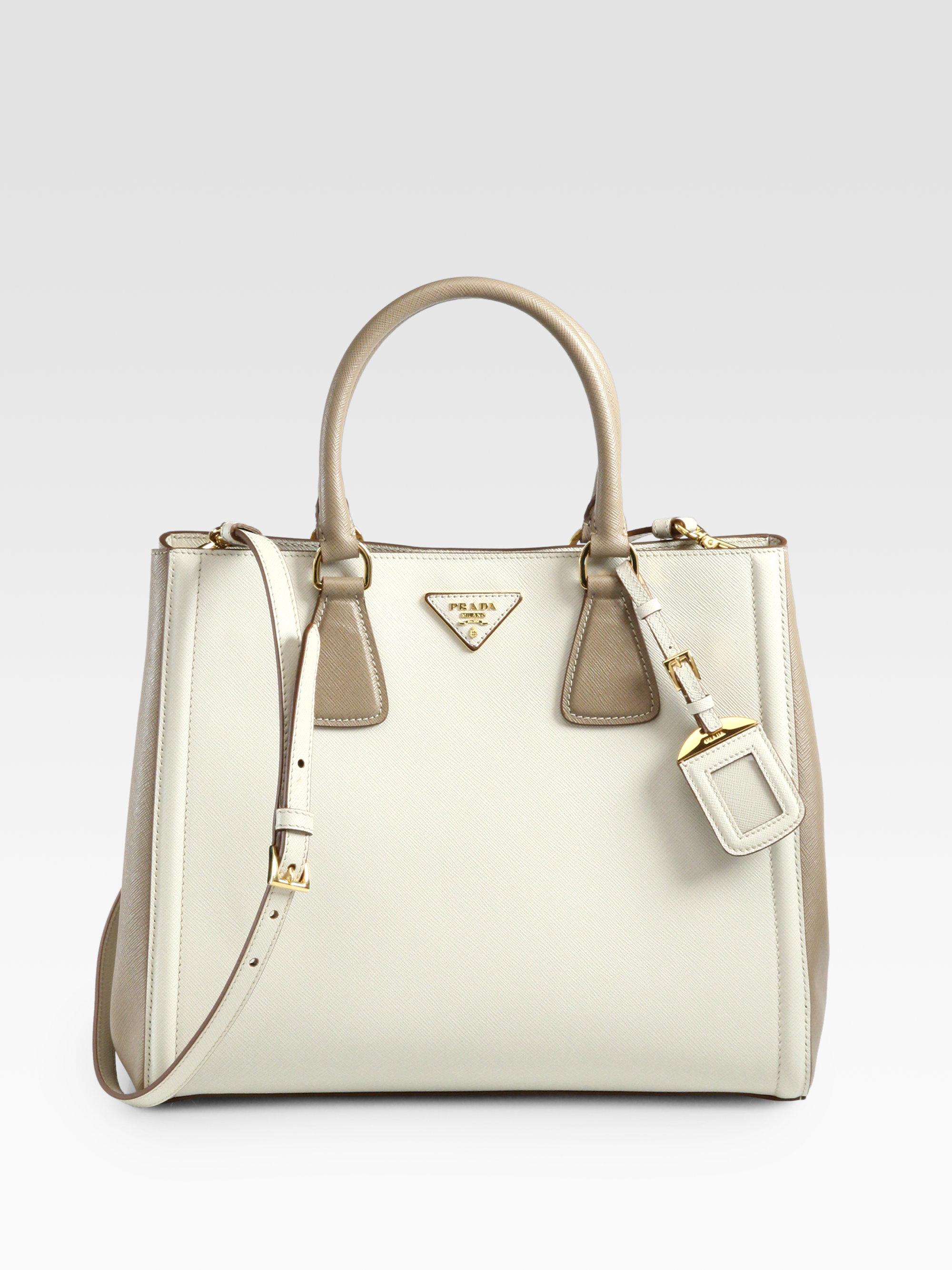 8cffc82dd395 Prada Saffiano Lux Bicolor Ew Tote in White - Lyst