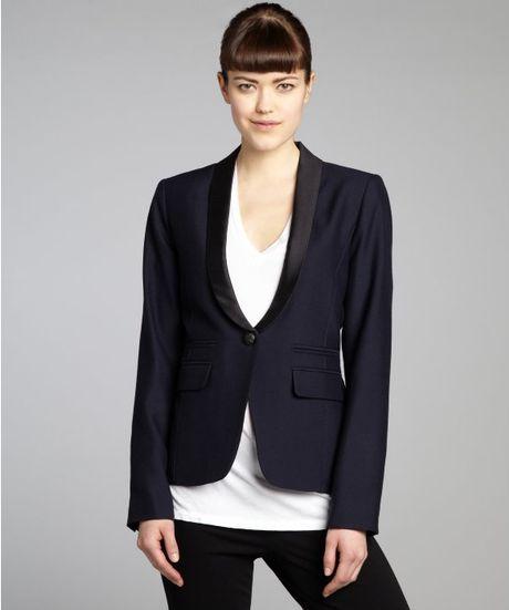 Smythe Navy And Black Wool One Button Silk Lapel Blazer In