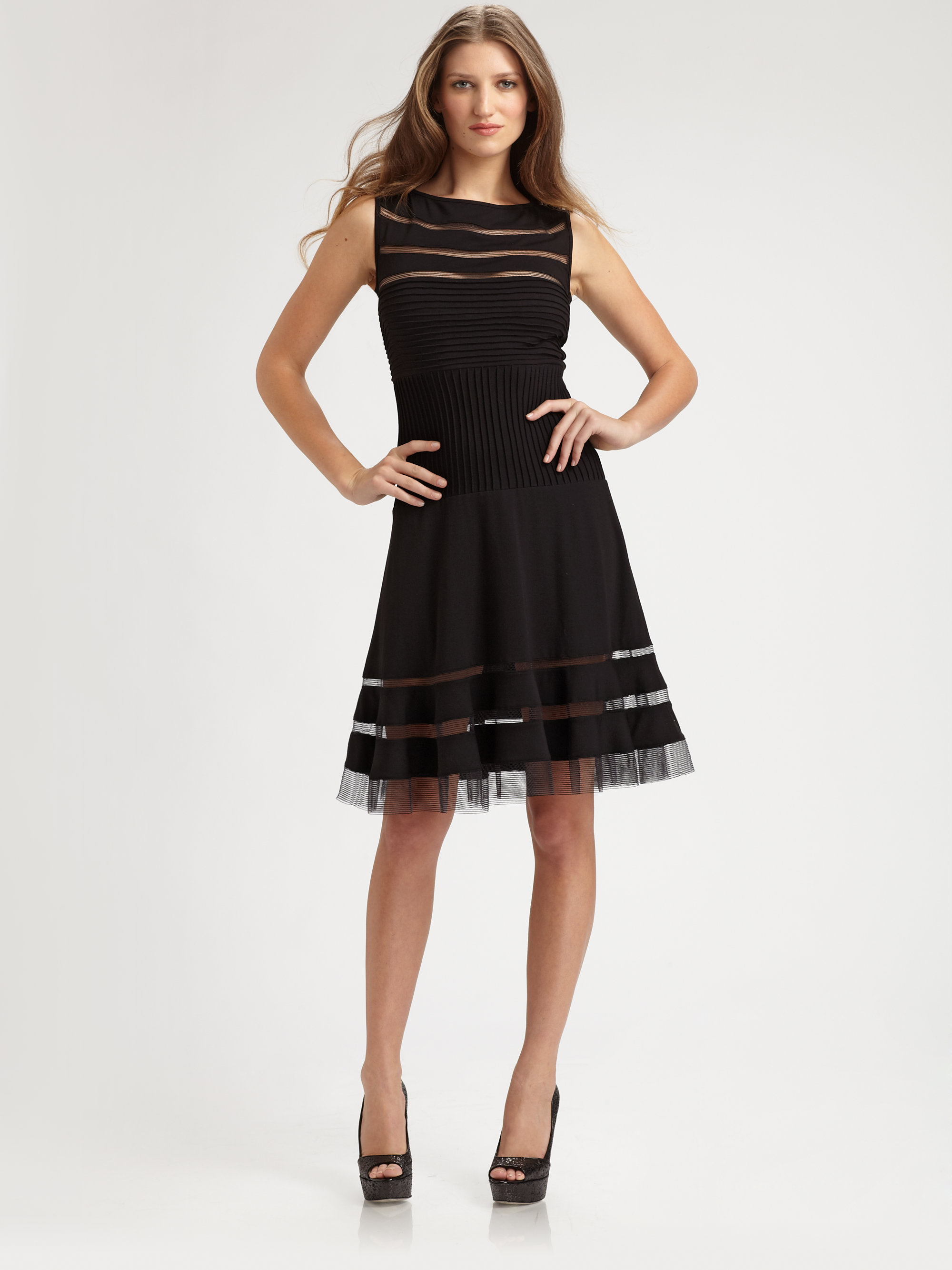 Tadashi Shoji Pintucked Inset Dress In Black Lyst