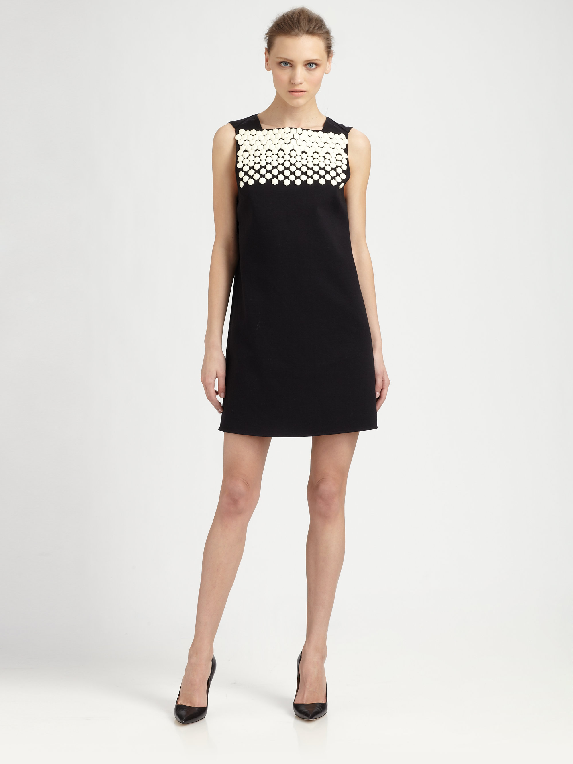 Lyst Tibi Dover Beaded Cut Out Back Dress In Black