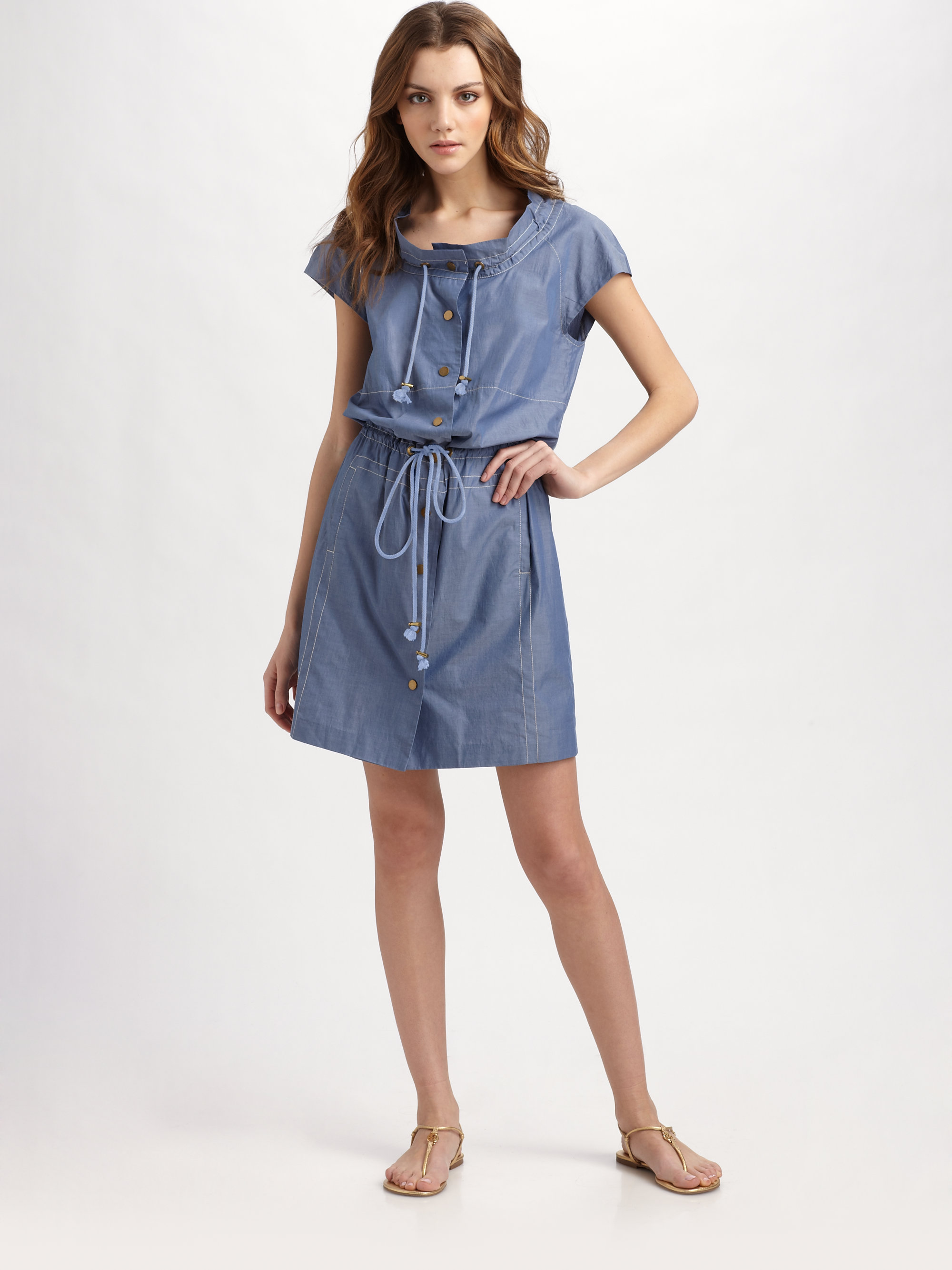 Tory burch pepper summer spring chambray dress in blue lyst for Chambray dress